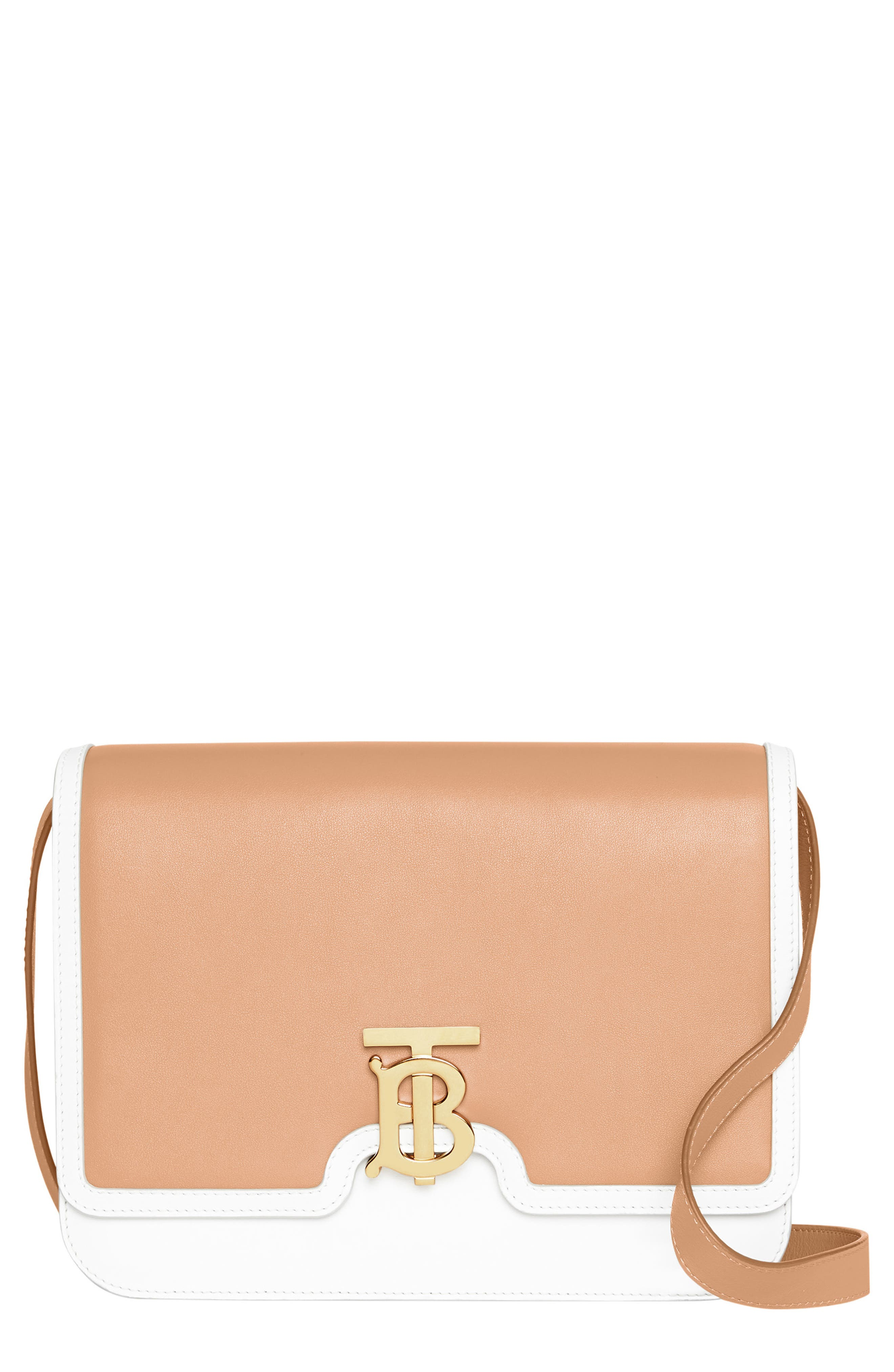 BURBERRY,                             Medium Two-Tone Leather TB Bag,                             Main thumbnail 1, color,                             CHALK WHITE/ LIGHT CAMEL