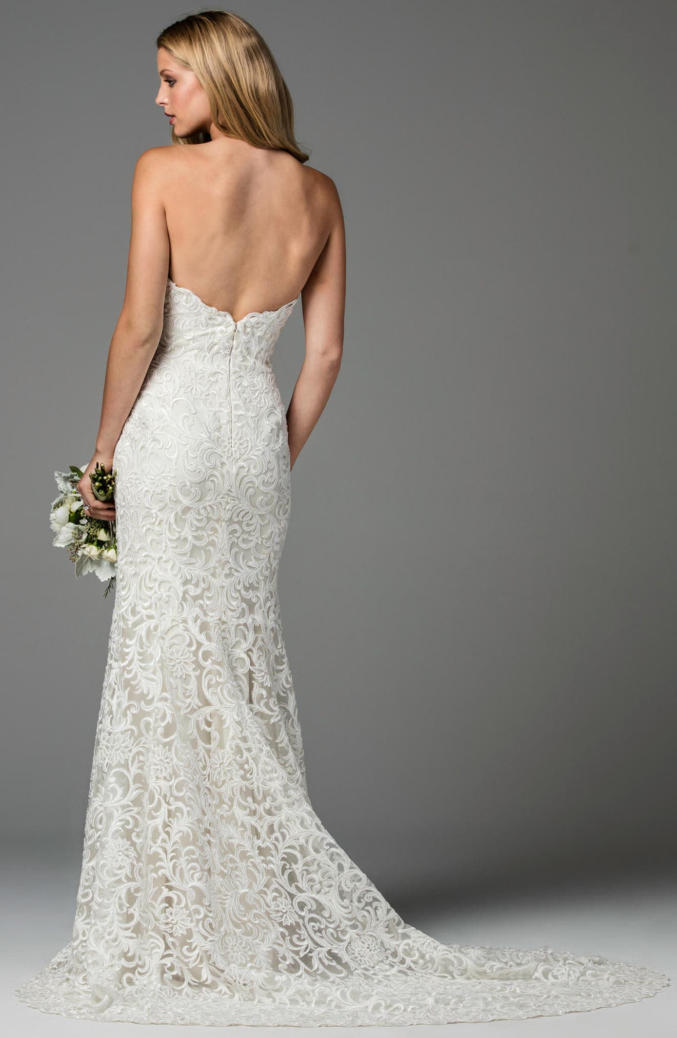 Pauline Strapless Lace Mermaid Gown,                             Alternate thumbnail 2, color,                             IVORY/ OYSTER