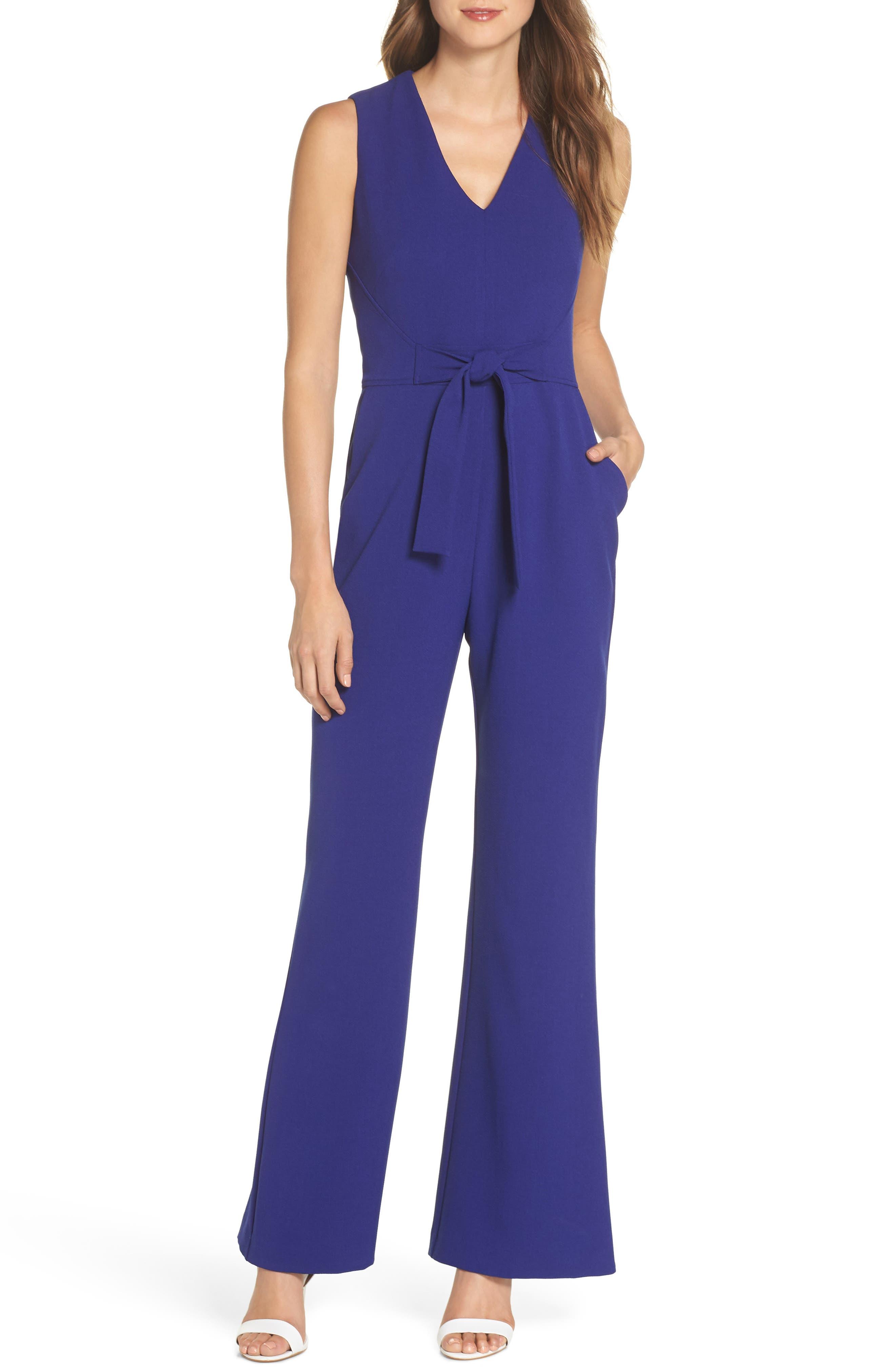 Tie Waist Crepe Jumpsuit,                         Main,                         color, COBALT