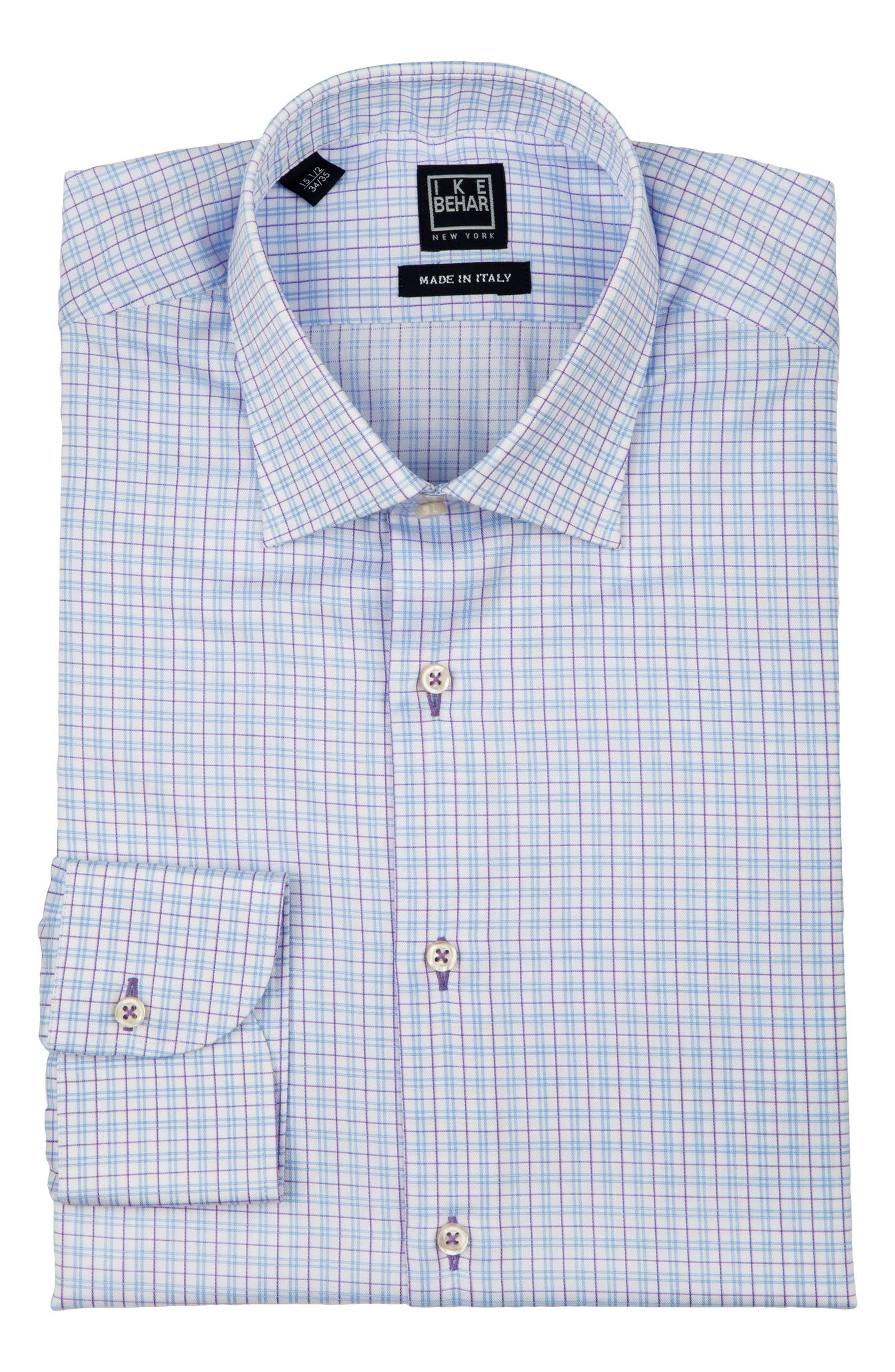 Regular Fit Check Dress Shirt,                             Alternate thumbnail 5, color,                             WHITE MULTI