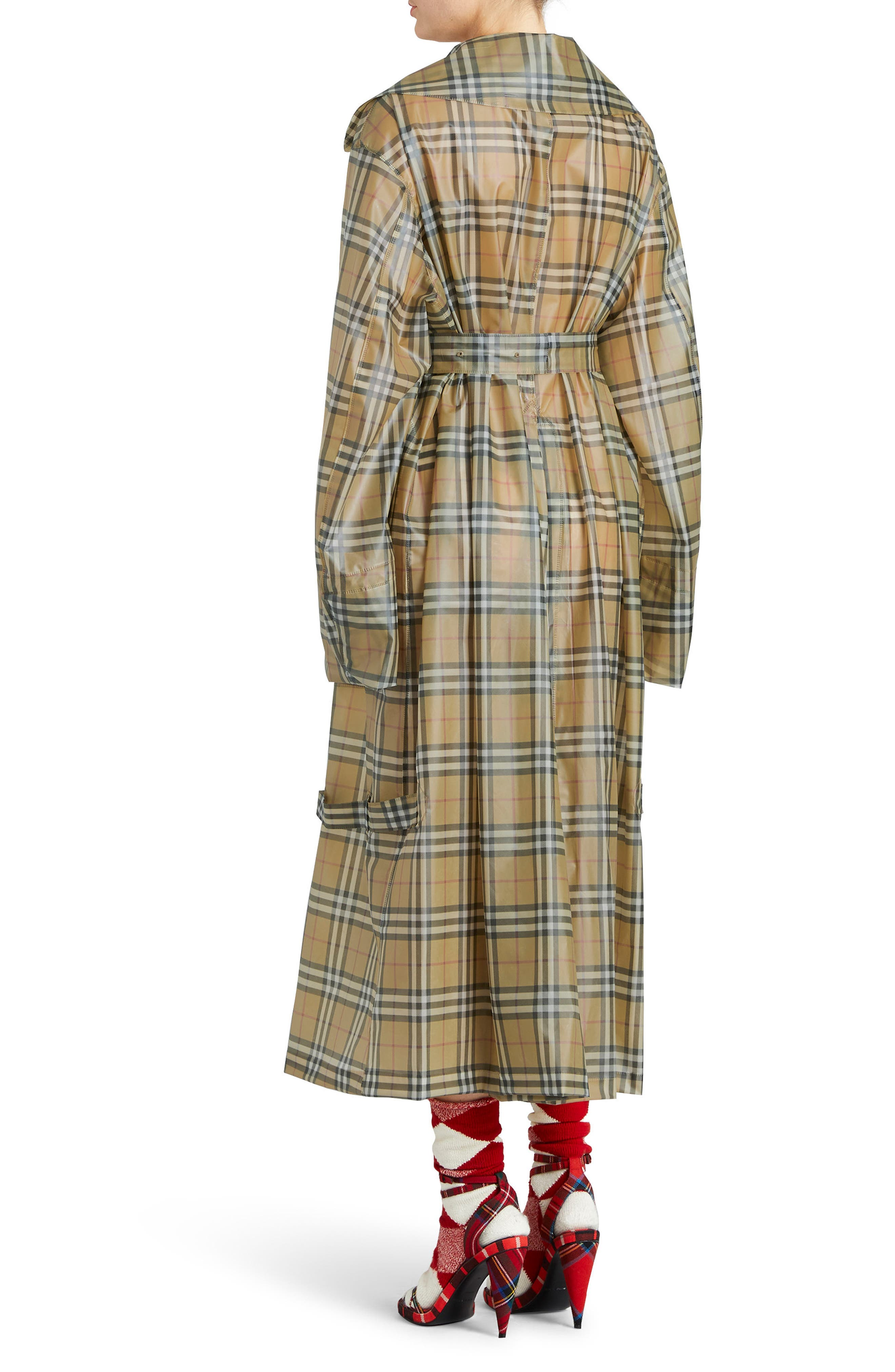 Vintage Check Plastic Trench Coat,                             Alternate thumbnail 2, color,                             704