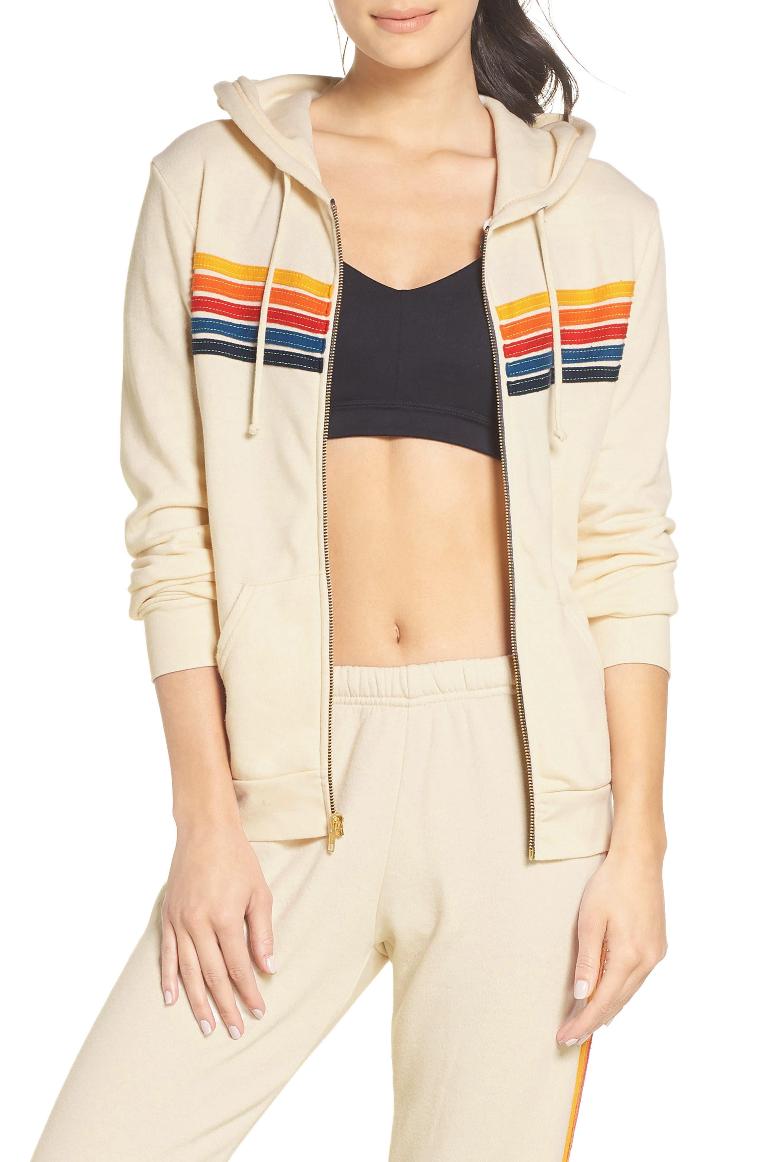 5-Stripe Zip Hoodie,                         Main,                         color, VINTAGE WHITE