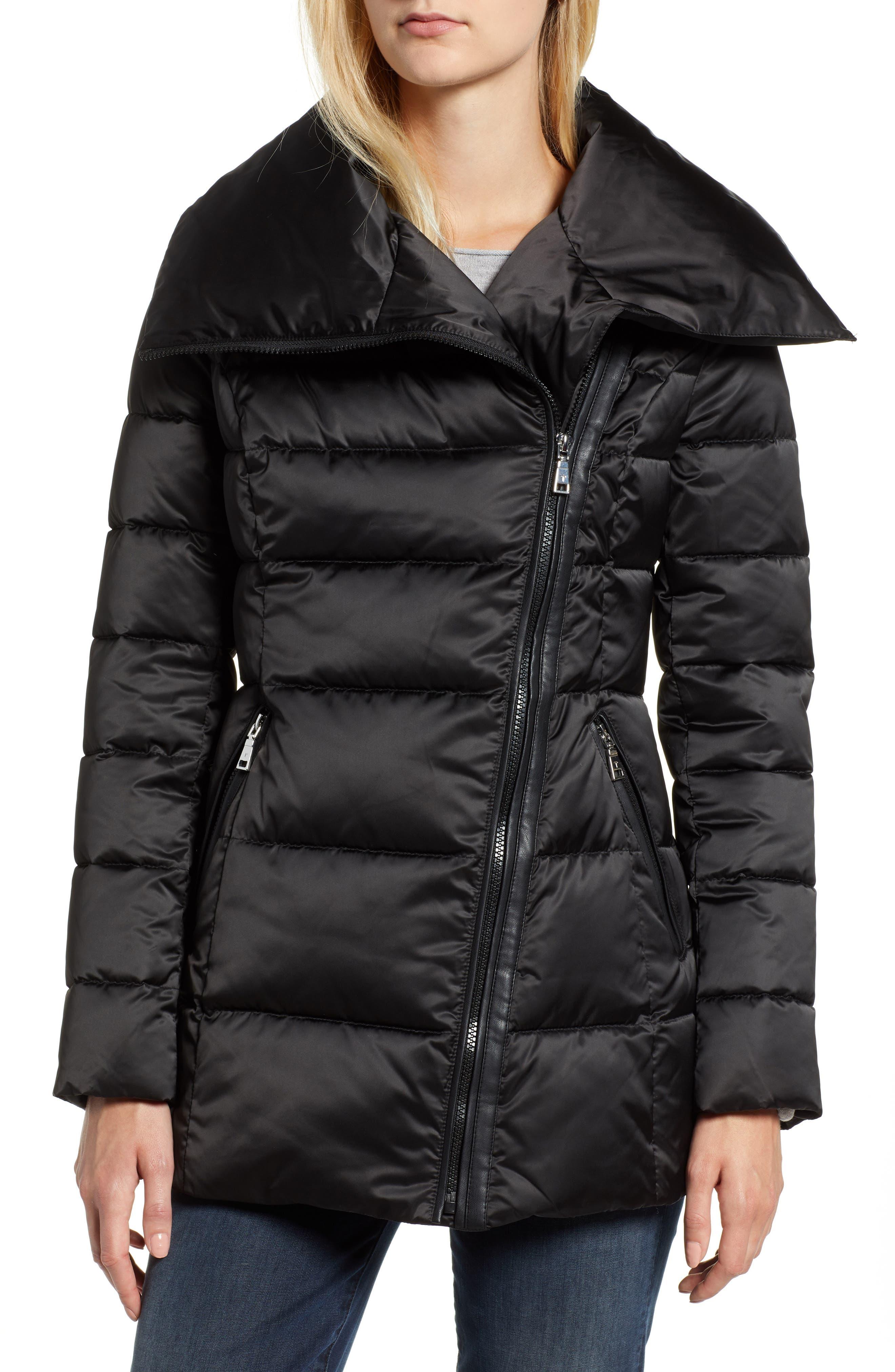 Blair Moto Style Puffer Jacket,                             Main thumbnail 1, color,                             BLACK