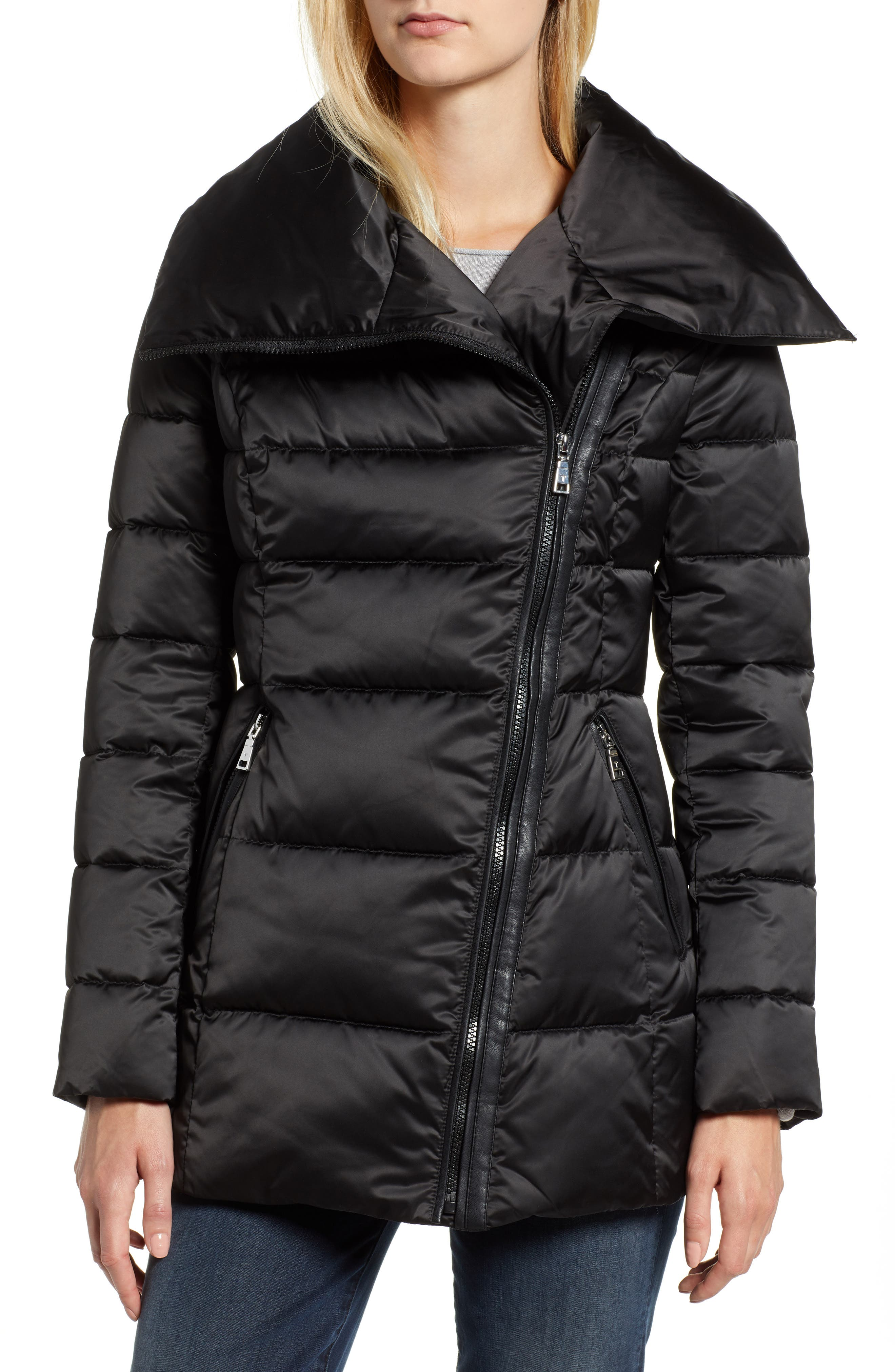 Blair Moto Style Puffer Jacket,                         Main,                         color, BLACK