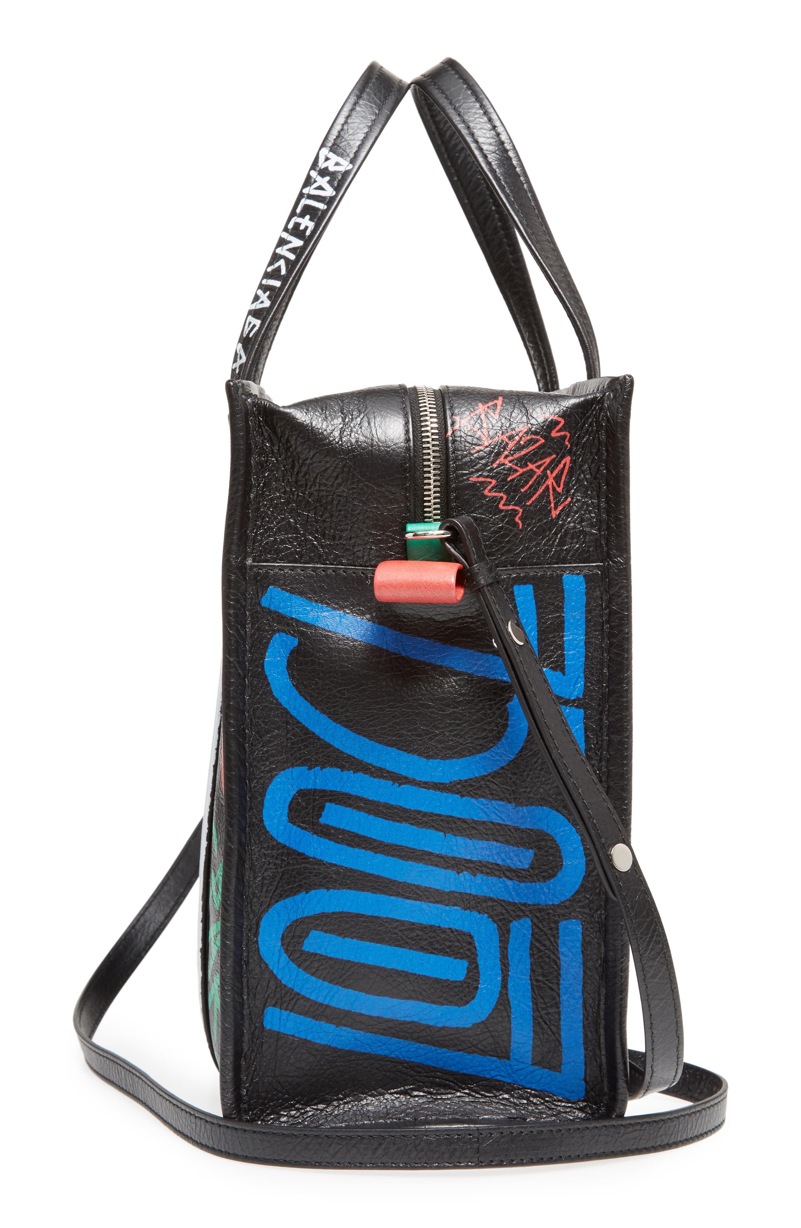 Small Bazar Grafitti Leather Shopper,                             Alternate thumbnail 5, color,                             NOIR/ COLOR