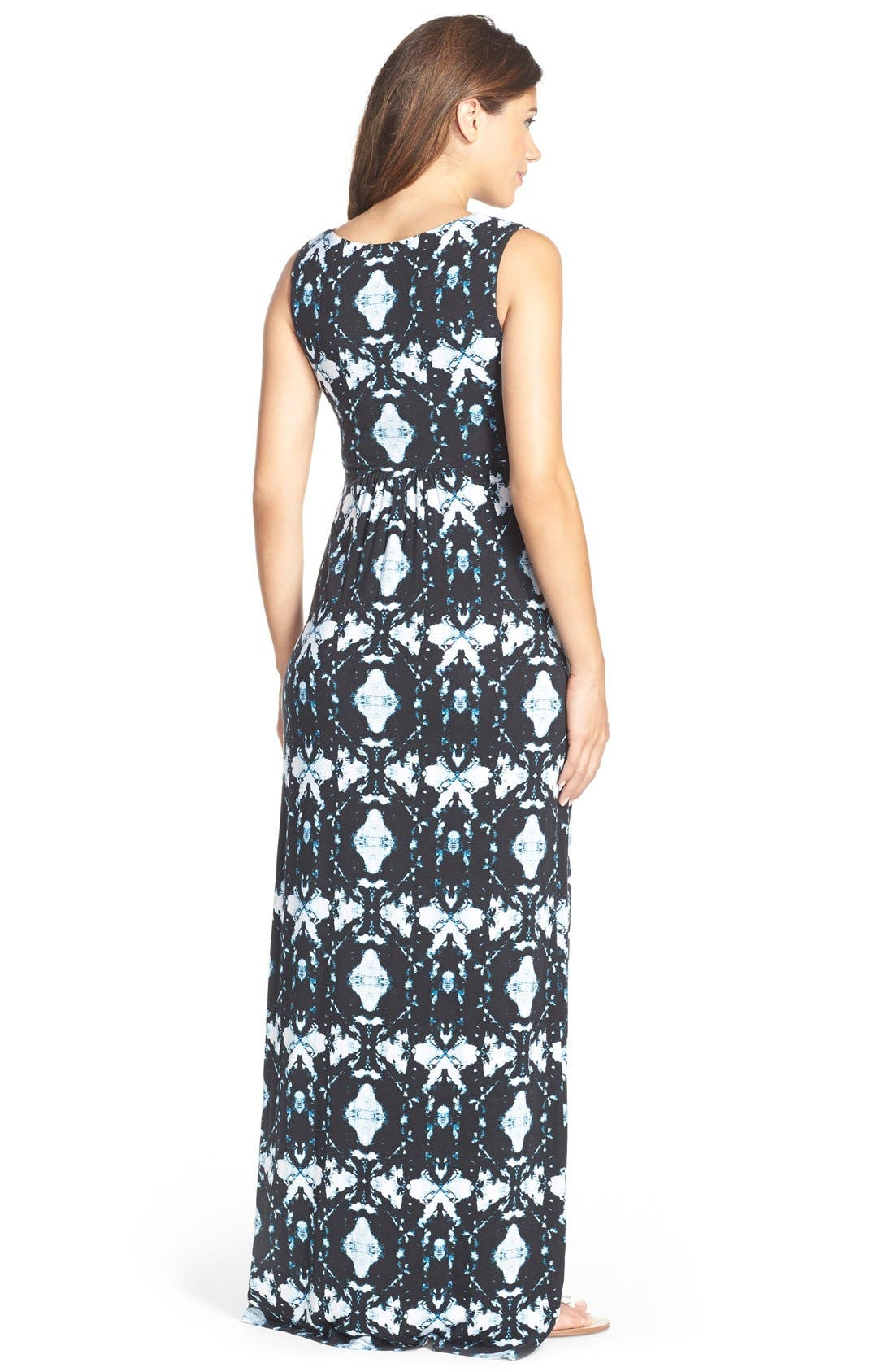 'Callie' Jersey Maxi Maternity Dress,                             Alternate thumbnail 5, color,                             INK BLOTS