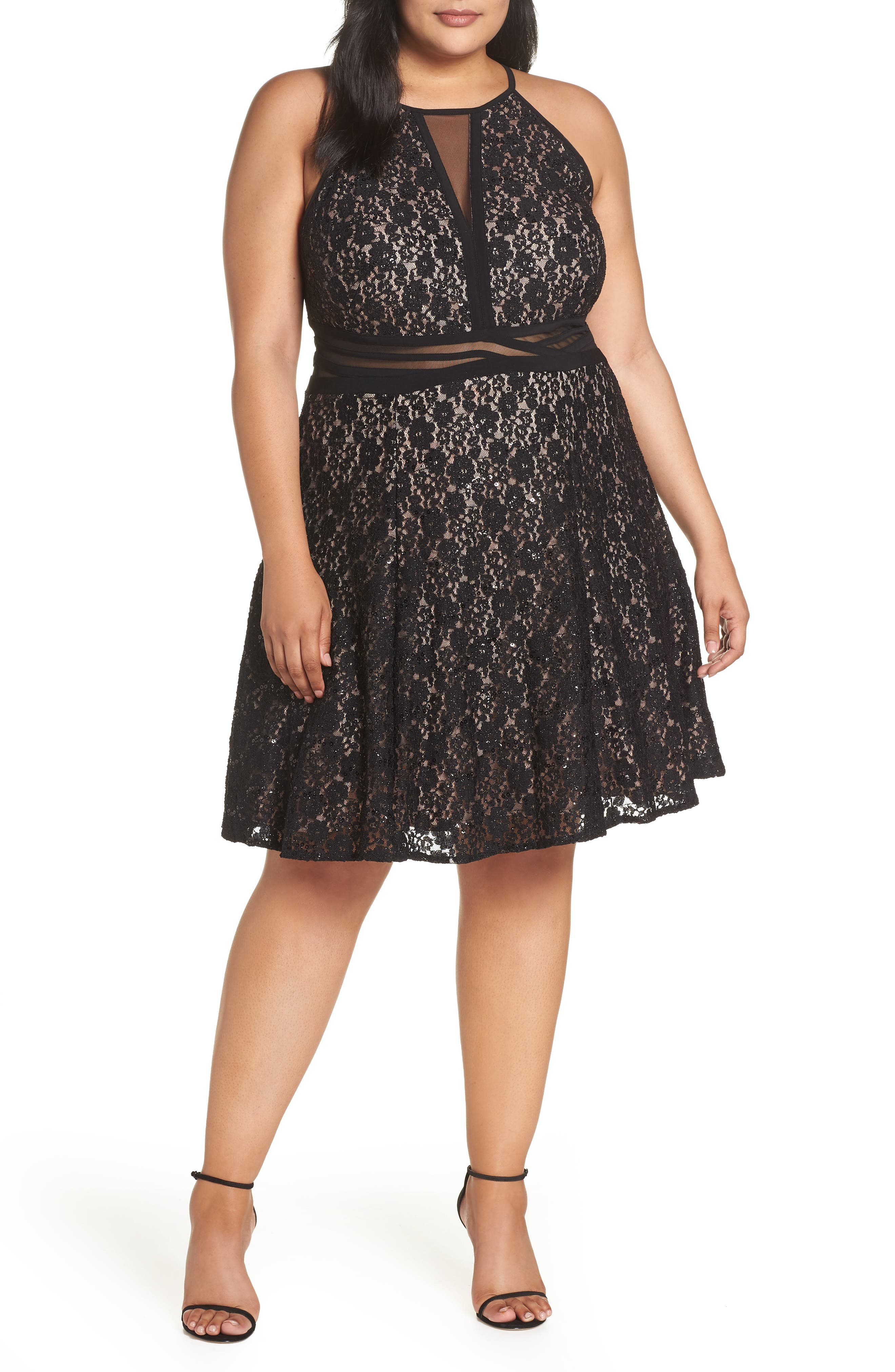Sheer Inset Lace Fit & Flare Dress,                             Main thumbnail 1, color,                             BLACK/ NUDE