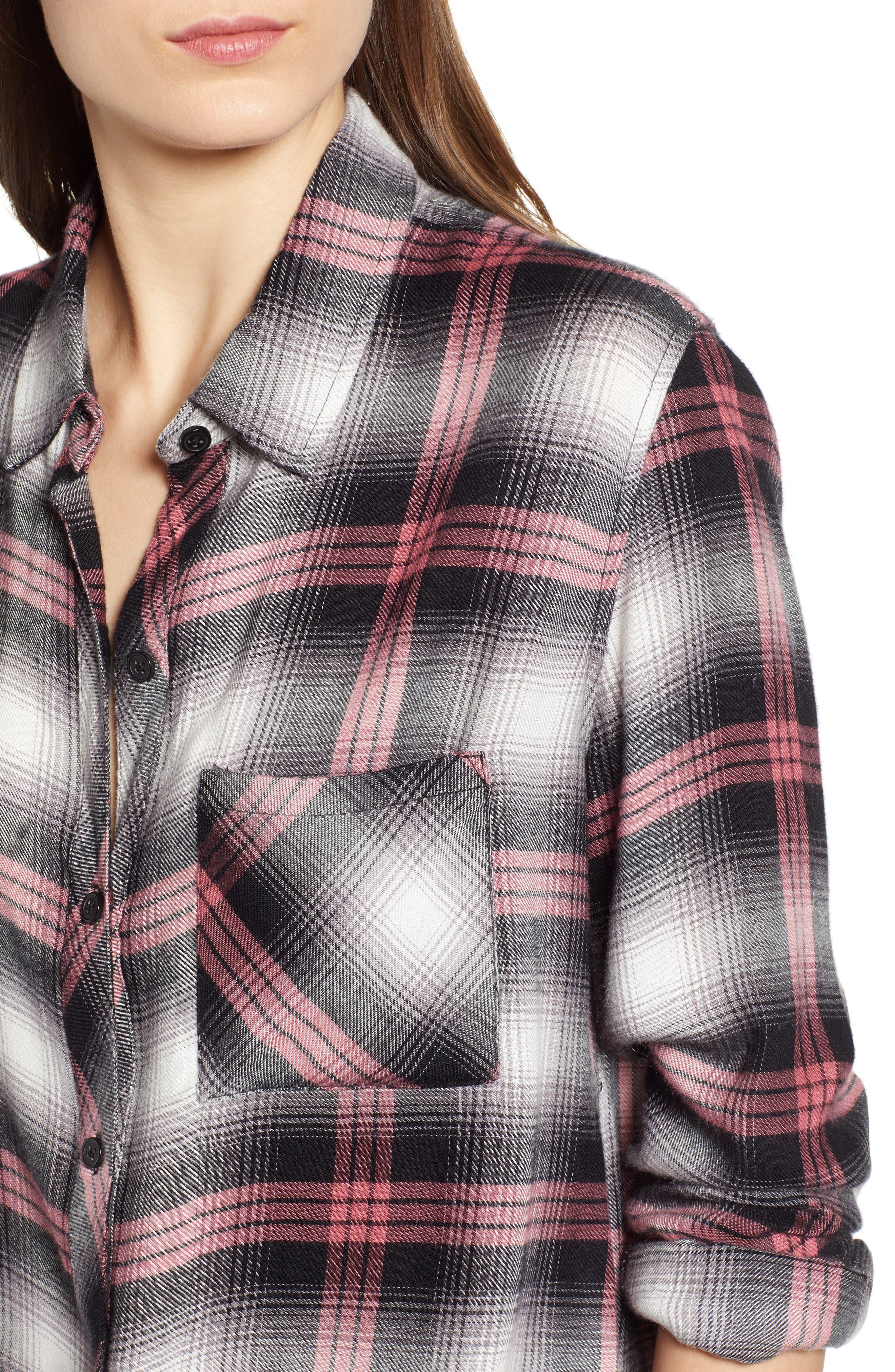 Hunter Plaid Shirt,                             Alternate thumbnail 6, color,                             BLACK TAFFY