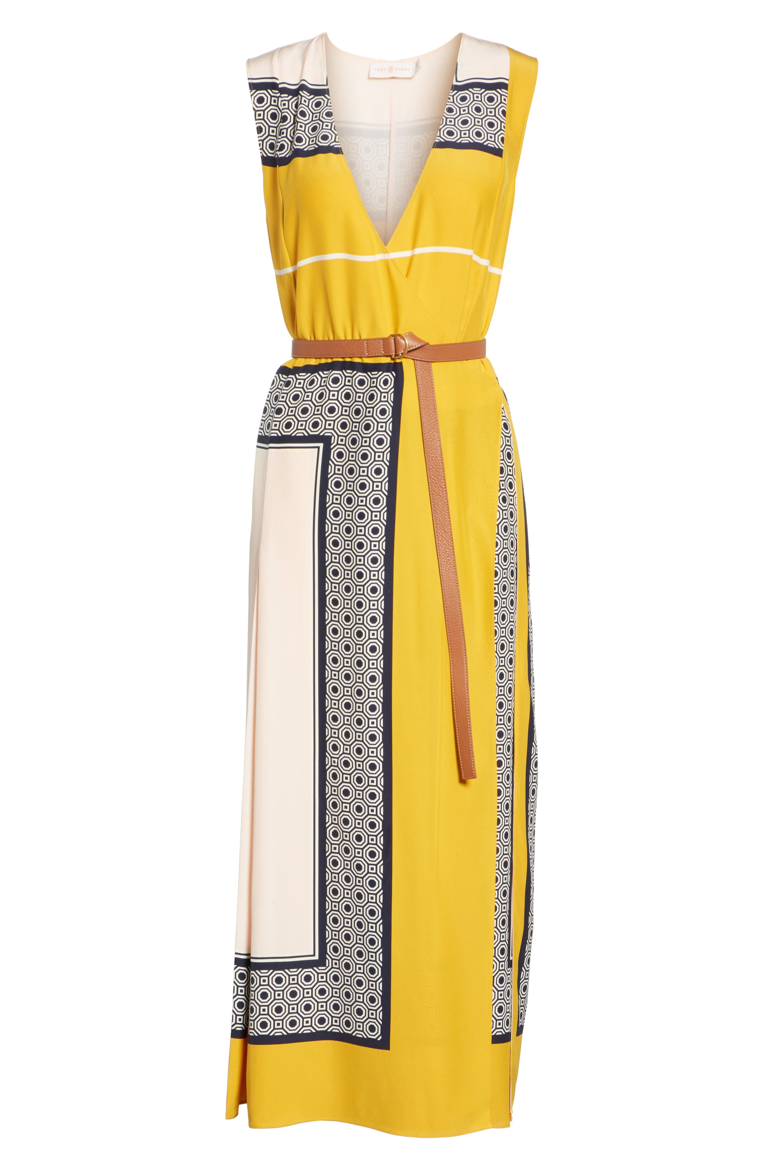 Clarice Belted Silk Wrap Dress,                             Alternate thumbnail 6, color,                             658
