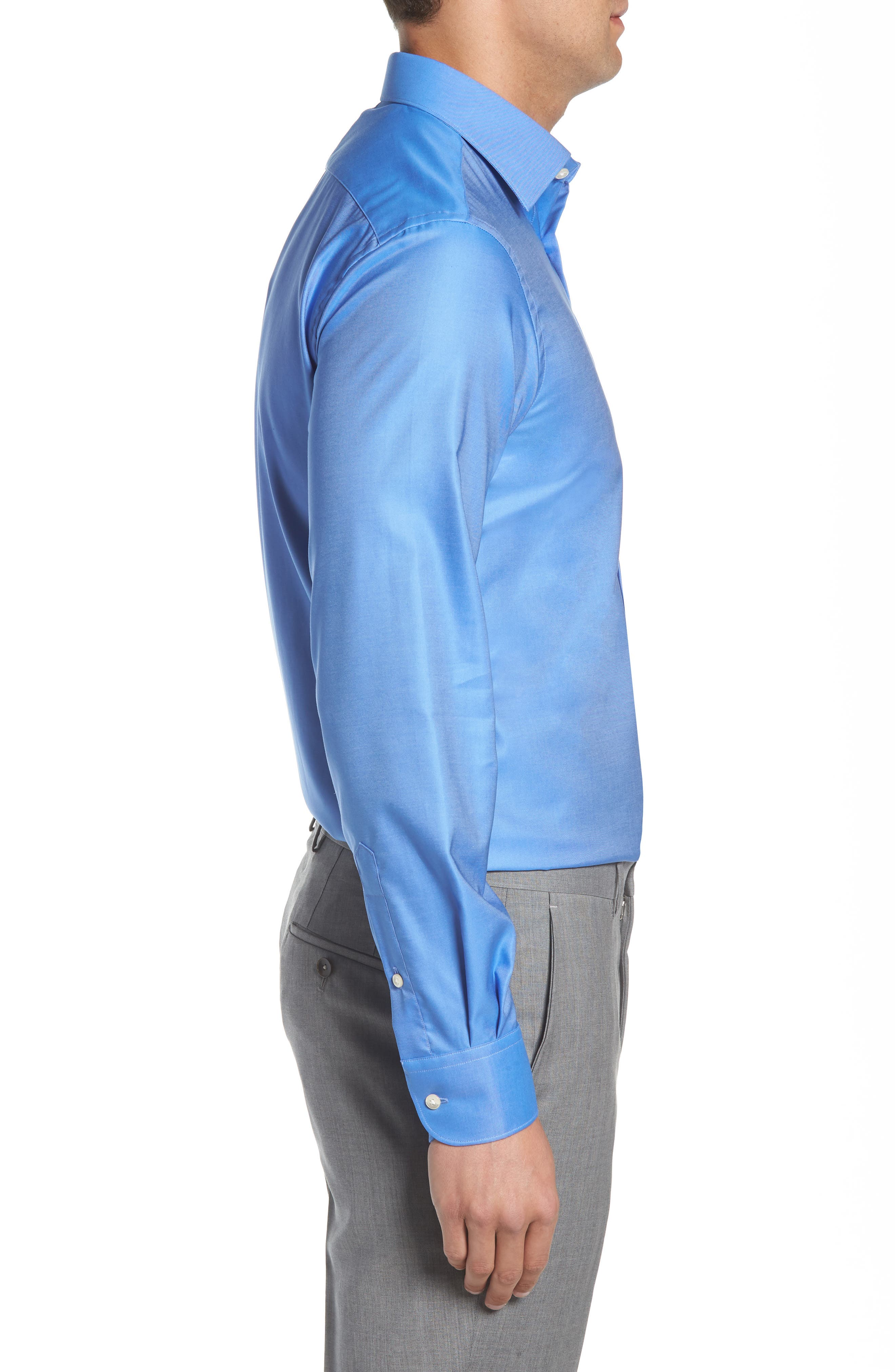 Regular Fit Solid Dress Shirt,                             Alternate thumbnail 4, color,                             DARK BLUE
