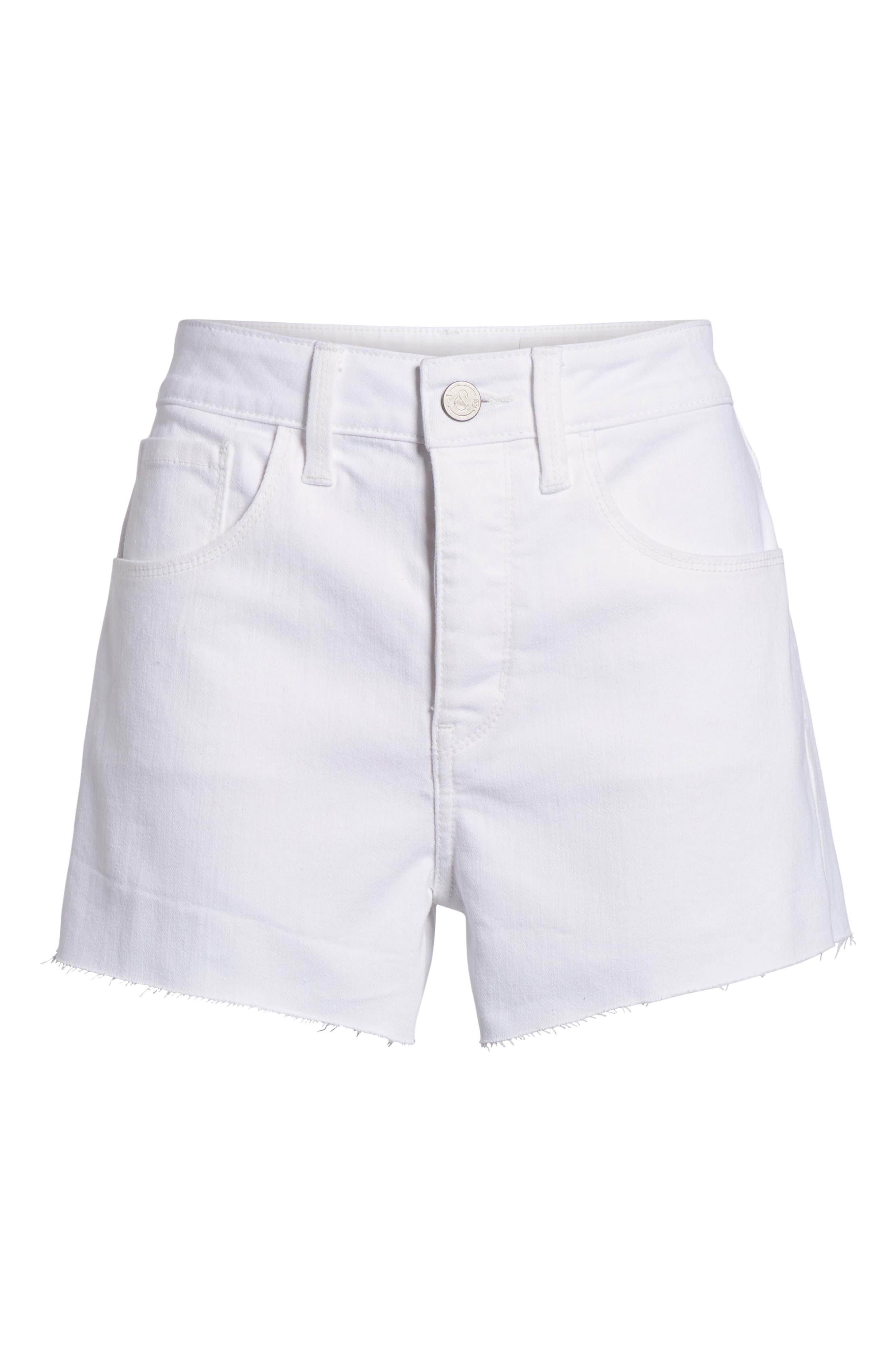 High Waist Cutoff Denim Shorts,                             Alternate thumbnail 6, color,                             100
