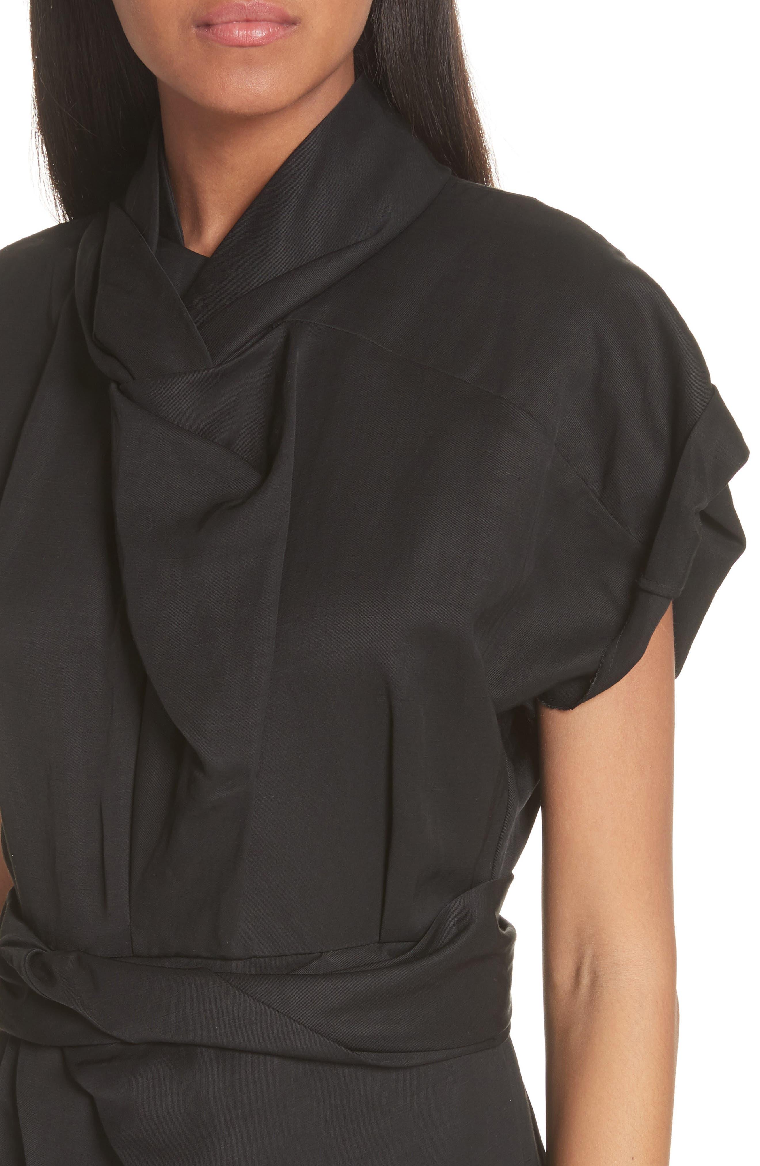 Split Front Gathered Sheath Dress,                             Alternate thumbnail 4, color,                             001