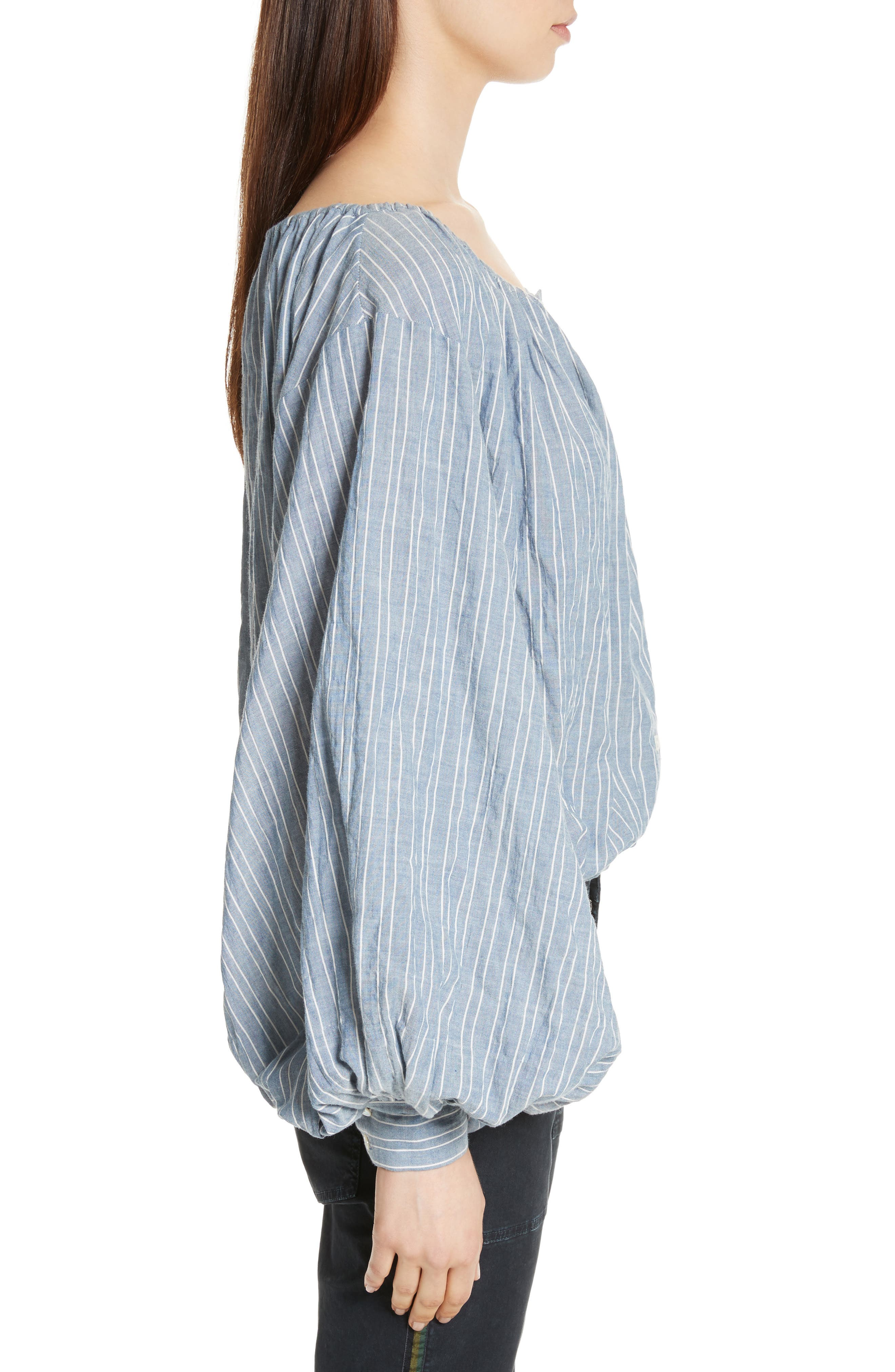 Roxie Chambray Puff Sleeve Blouse,                             Alternate thumbnail 3, color,                             411