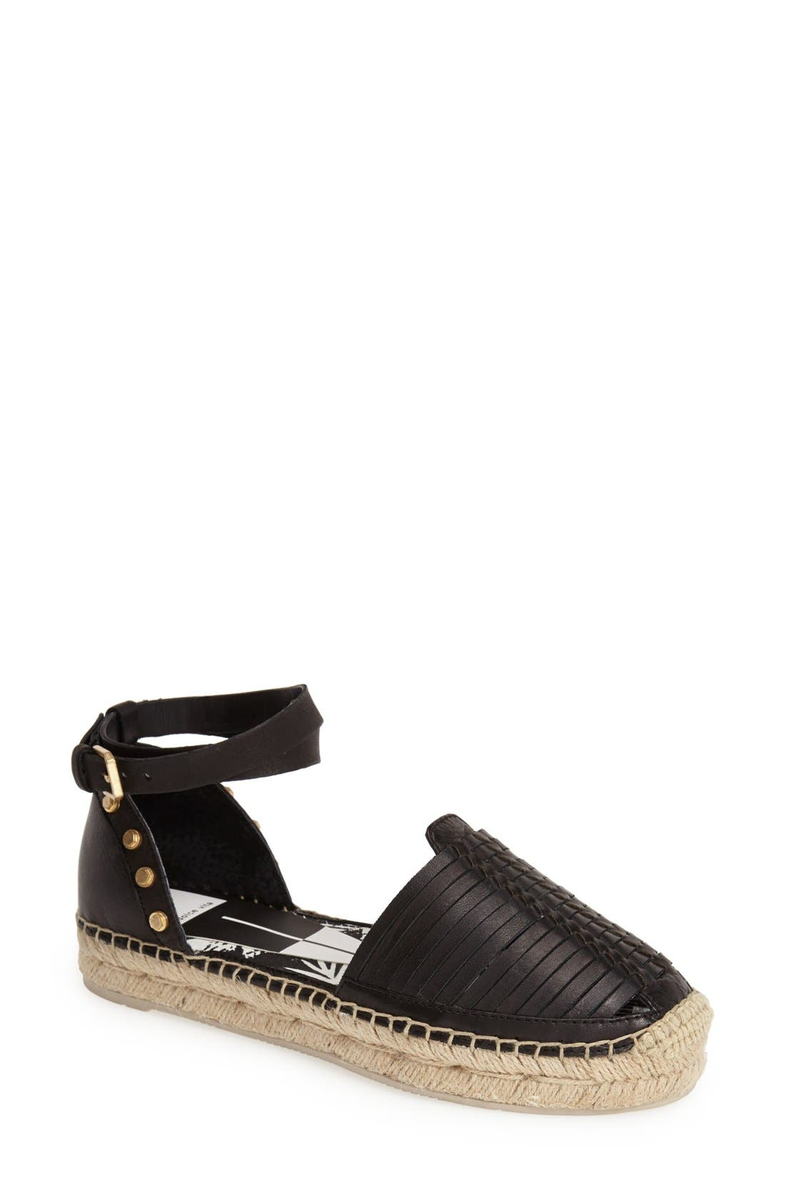 'Ceyla' Leather Ankle Strap Espadrille,                             Main thumbnail 1, color,                             001