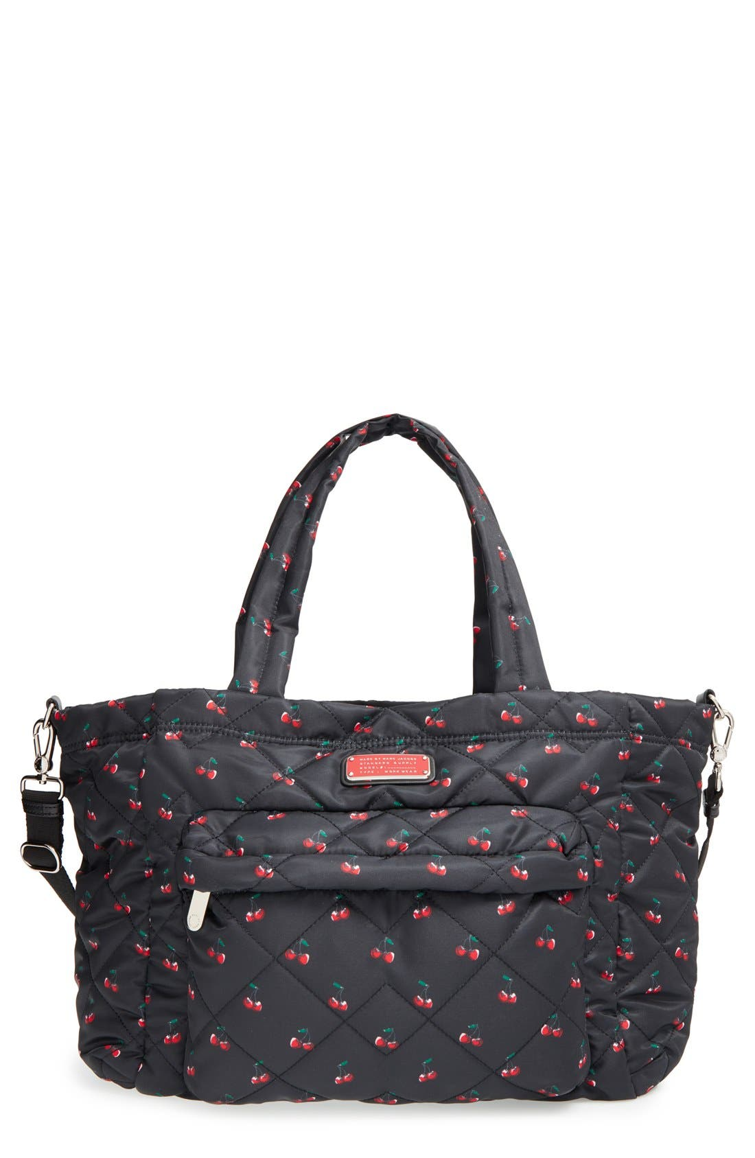 MARC JACOBS,                             MARC BY MARC JACOBS 'Crosby - Elizababy' Quilted Fruit Print Diaper Bag,                             Main thumbnail 1, color,                             001