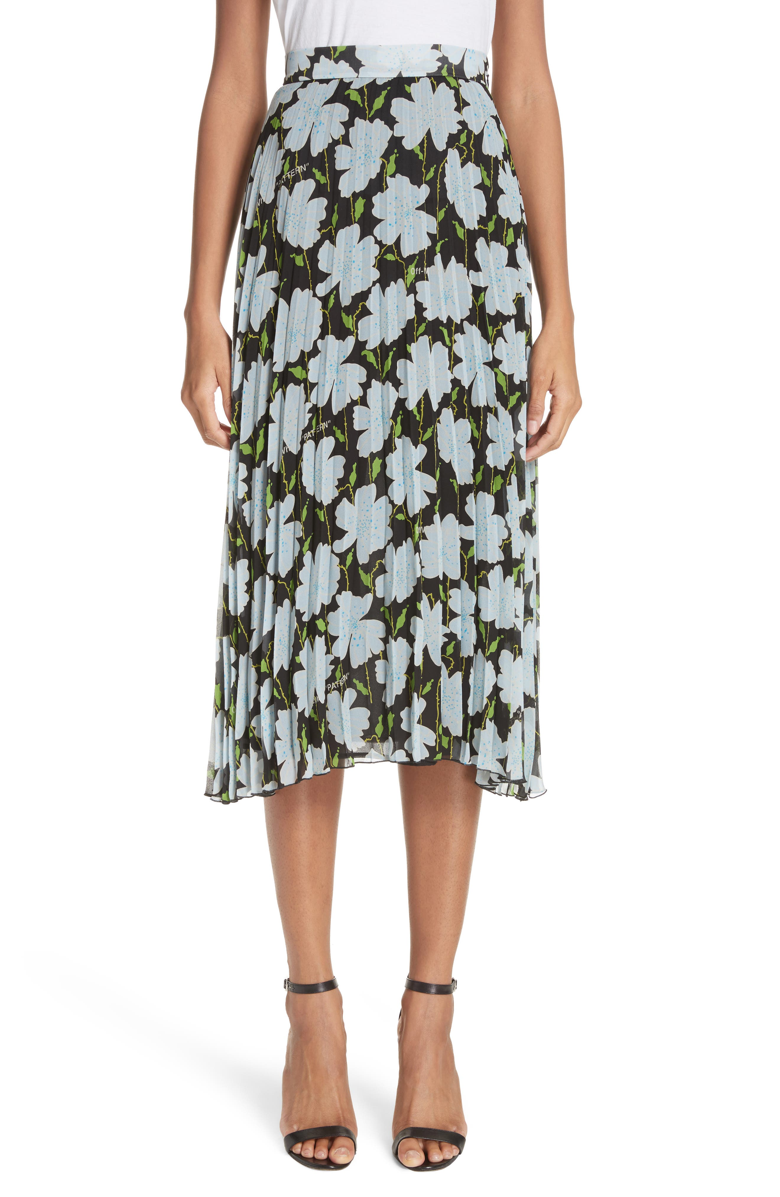 Floral Plissé Silk Skirt,                             Main thumbnail 1, color,                             001