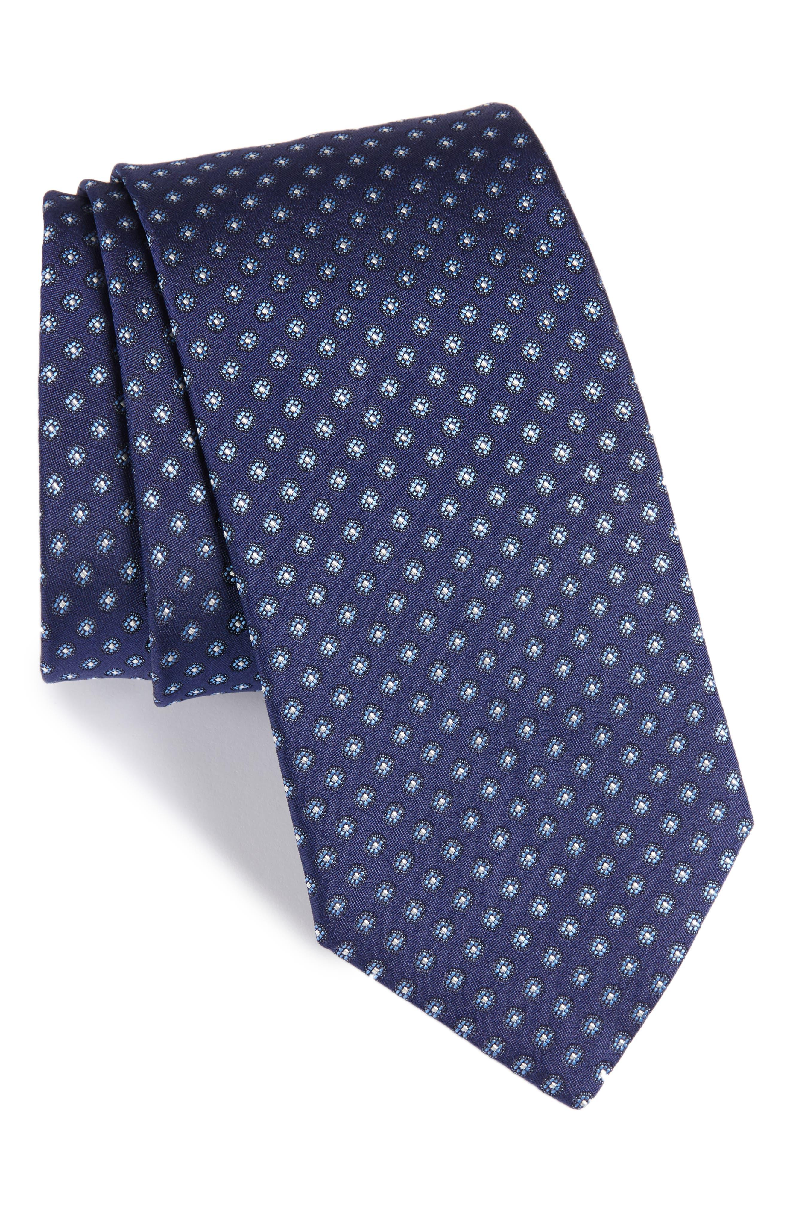Floral Silk Tie,                         Main,                         color, NAVY/ GREY