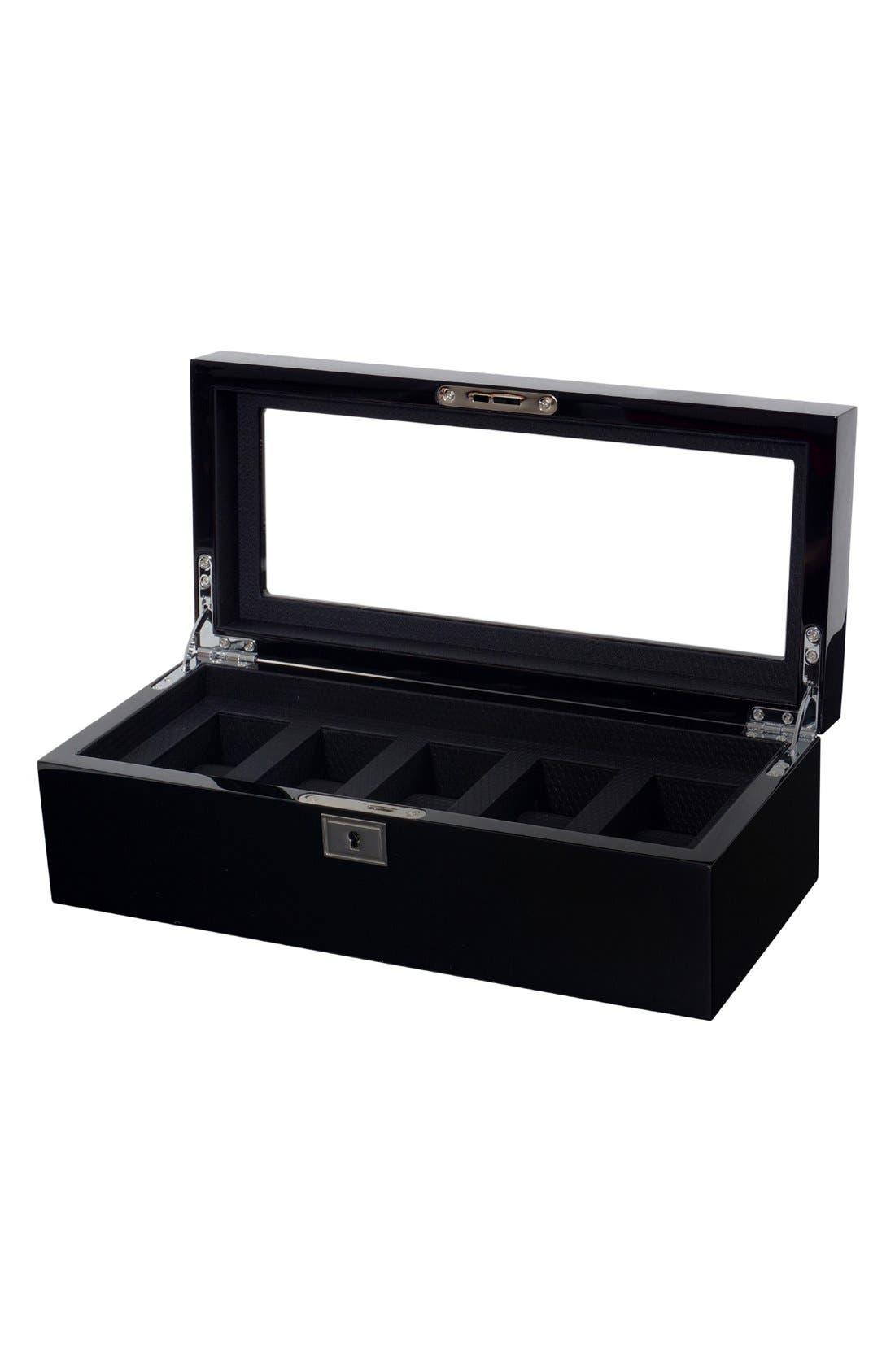 Savoy Five Piece Watch Box,                             Alternate thumbnail 2, color,                             BLACK