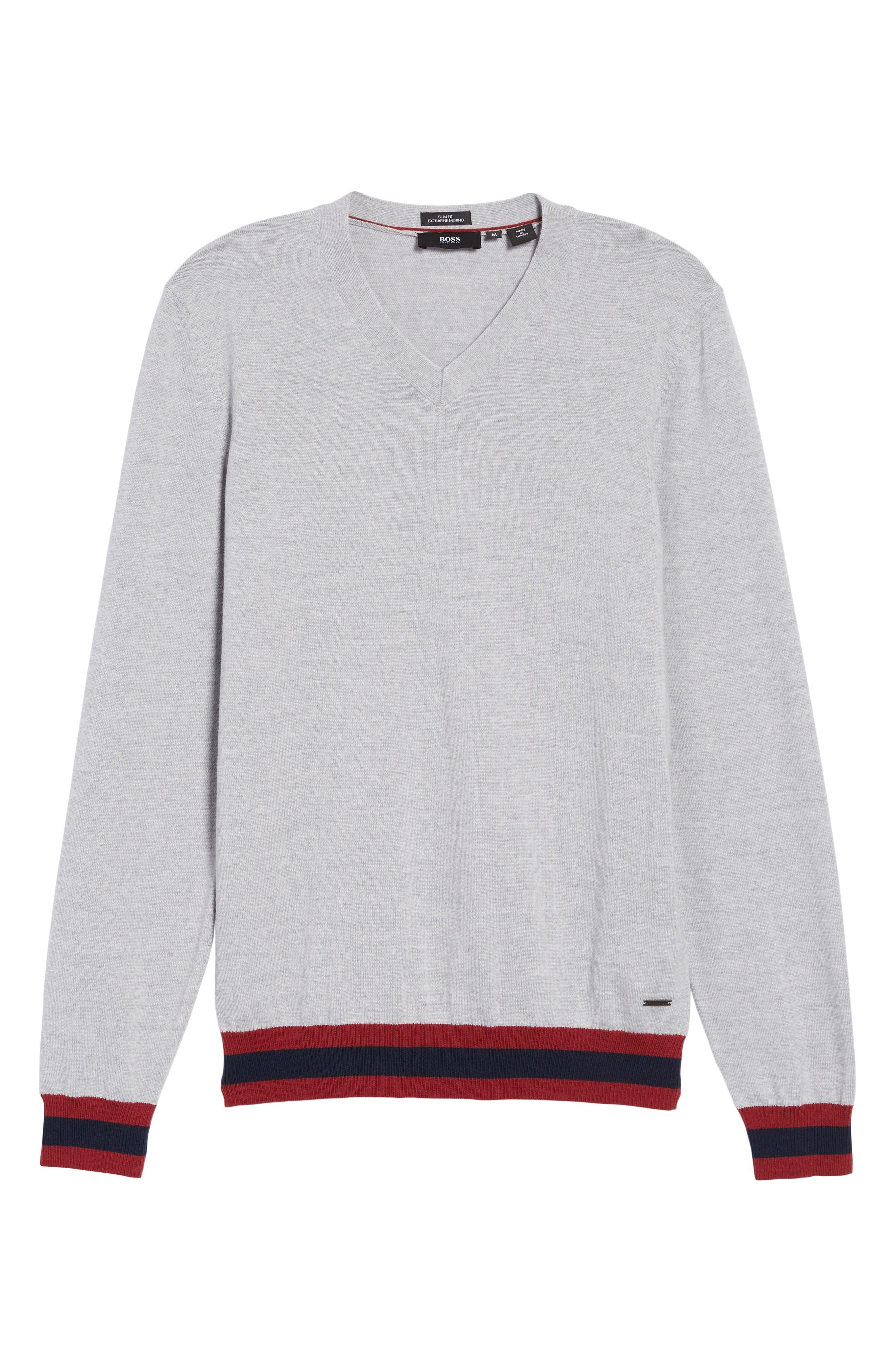 Navello Slim Fit Wool V-Neck Sweater,                             Alternate thumbnail 6, color,                             072