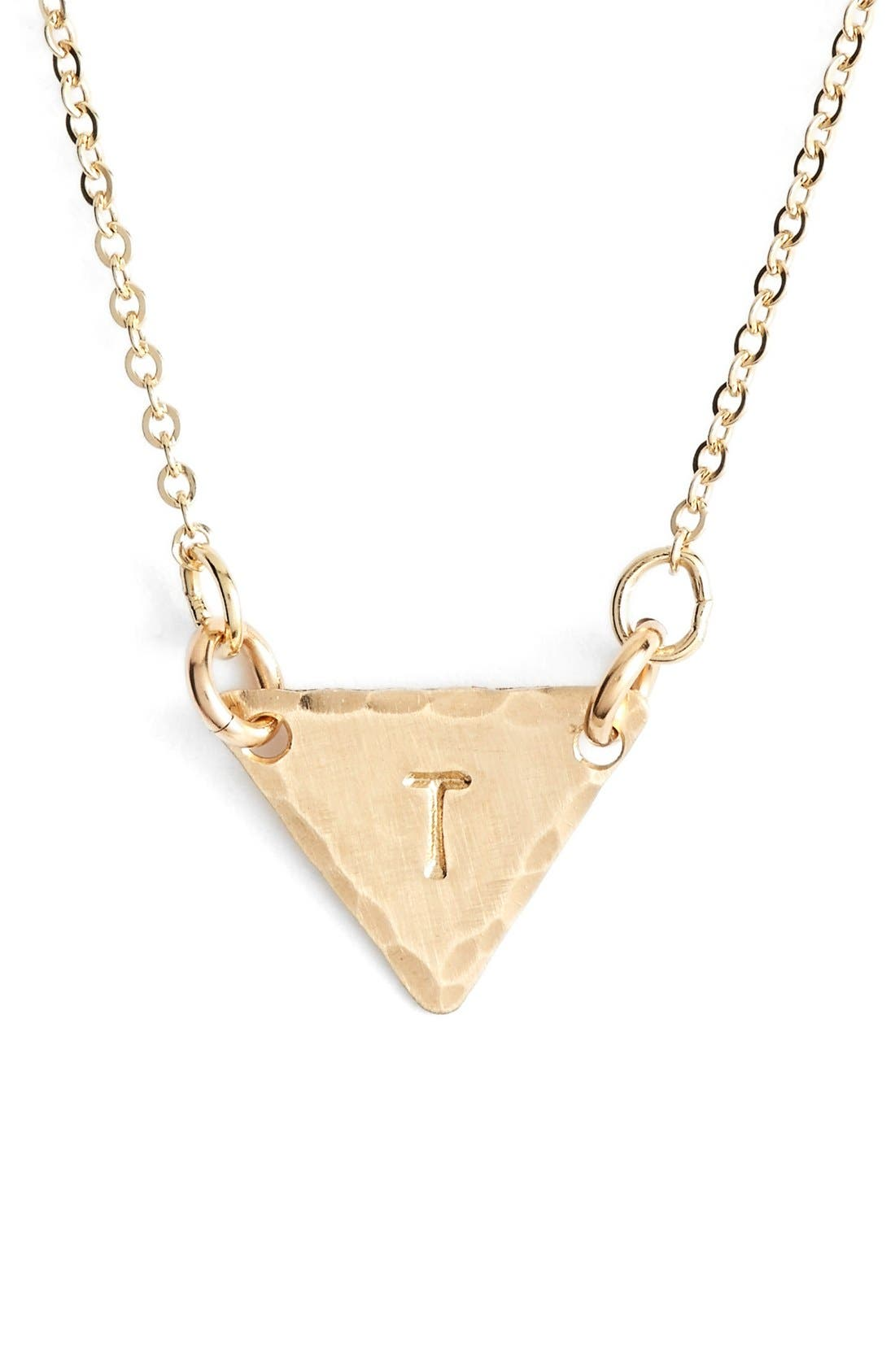 14k-Gold Fill Initial Triangle Necklace,                             Main thumbnail 20, color,