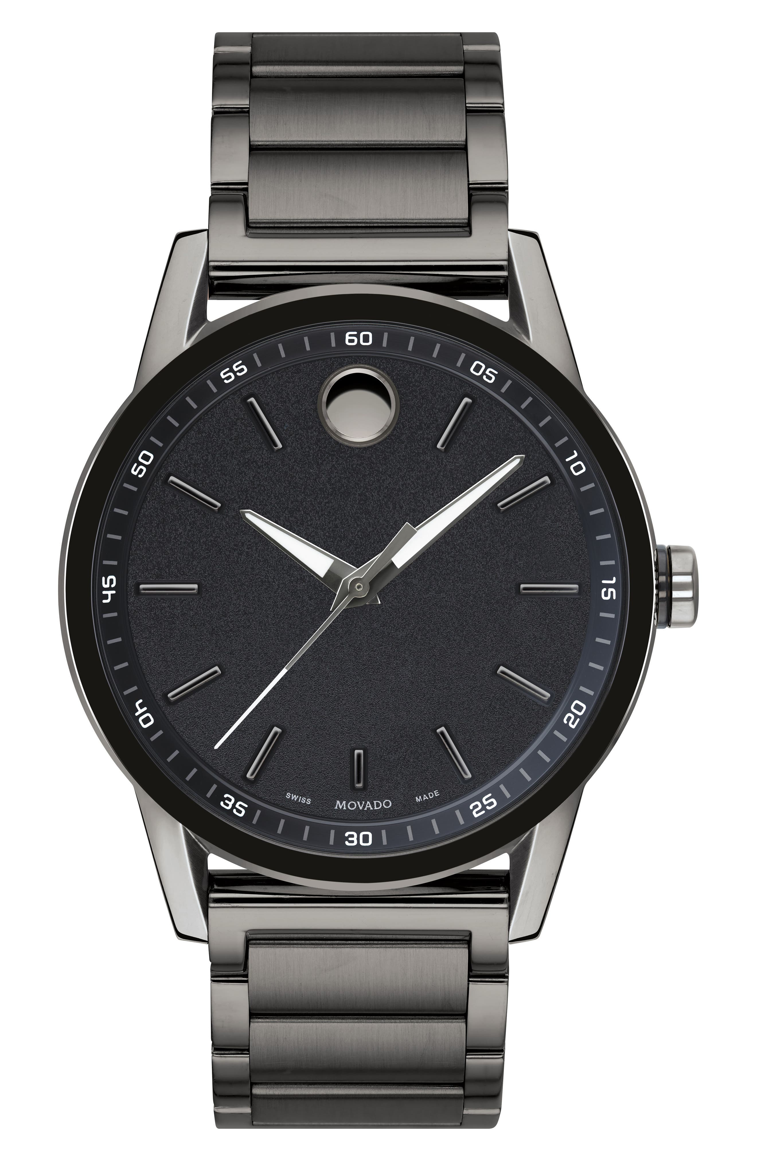 MOVADO,                             Museum Sport Bracelet Watch, 42mm,                             Main thumbnail 1, color,                             GUNMETAL/ BLACK