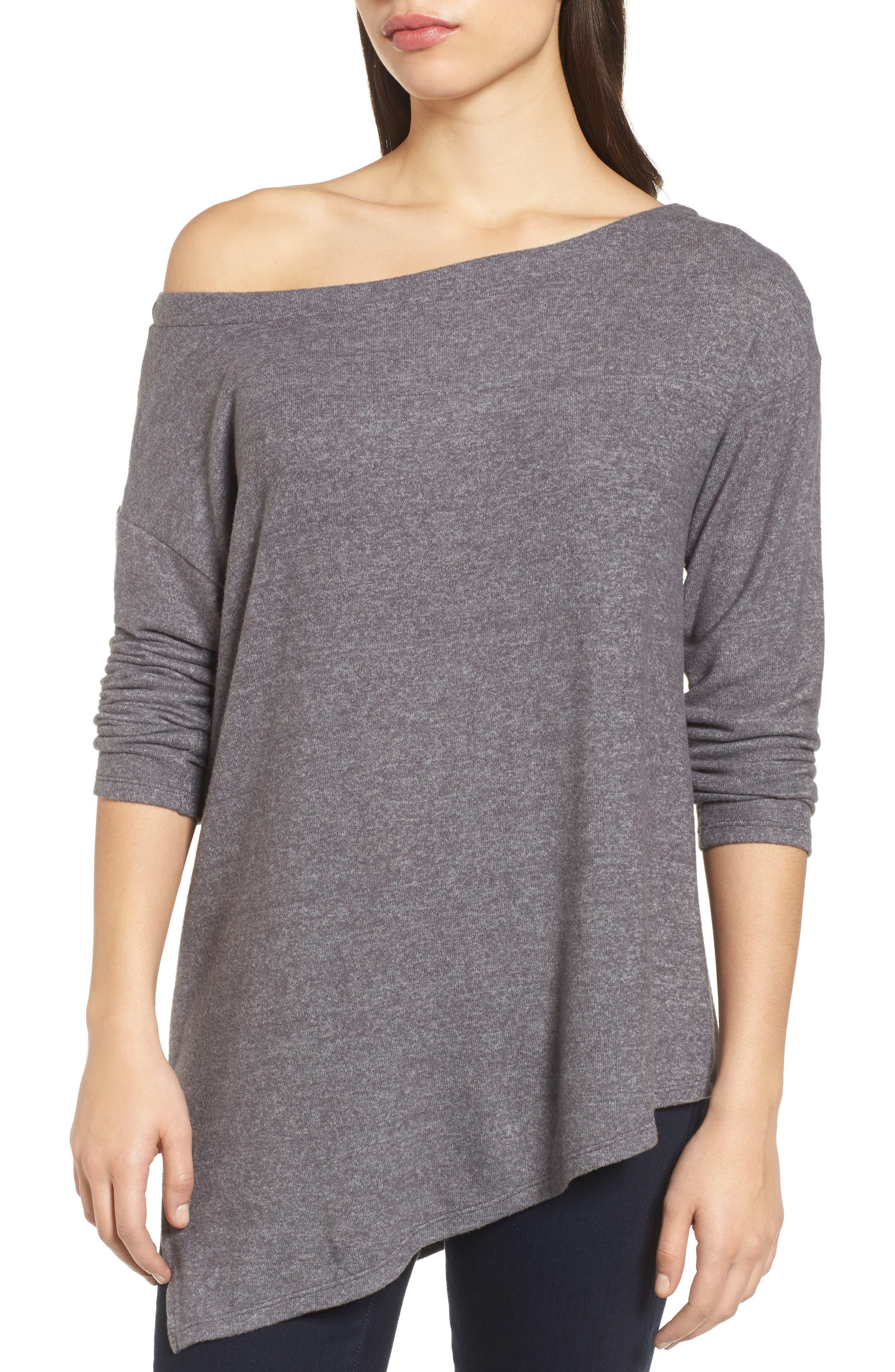 Asymmetrical Cozy Fleece Convertible Top,                             Alternate thumbnail 5, color,                             020