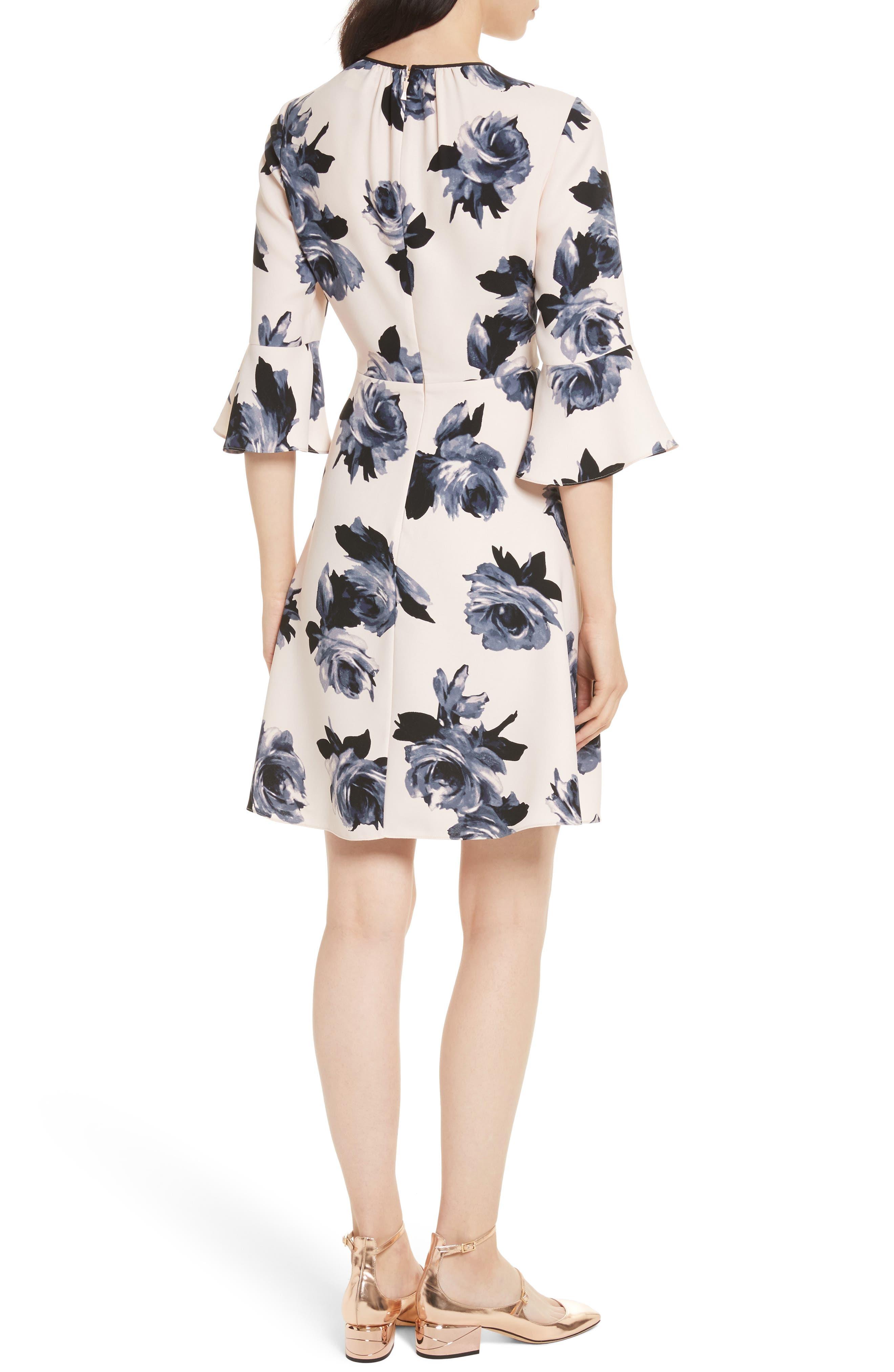night rose ruffle sleeve dress,                             Alternate thumbnail 2, color,                             672