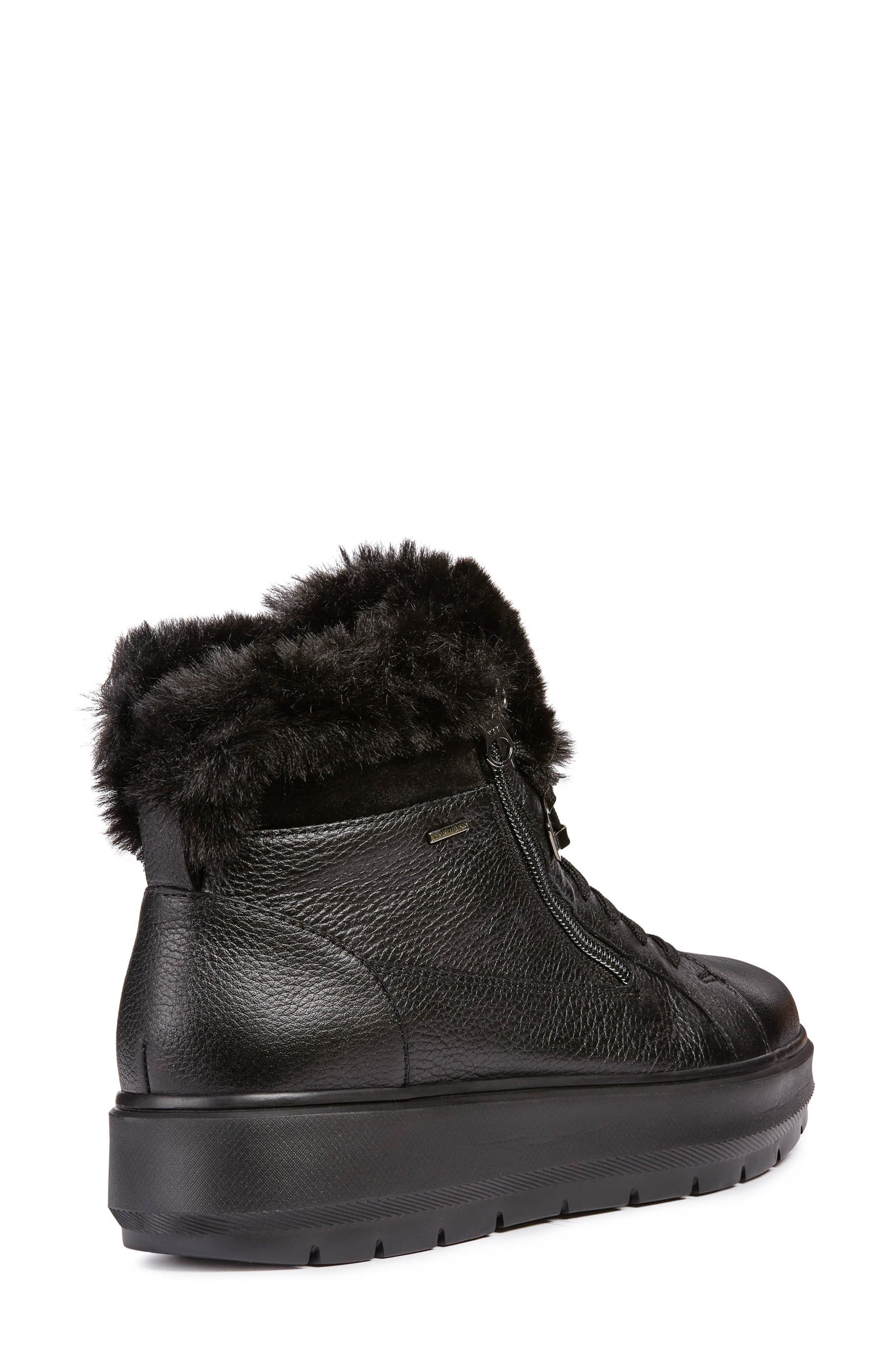 Kaula ABX Waterproof Faux-Fur Cuff Sneaker,                             Alternate thumbnail 2, color,                             BLACK LEATHER