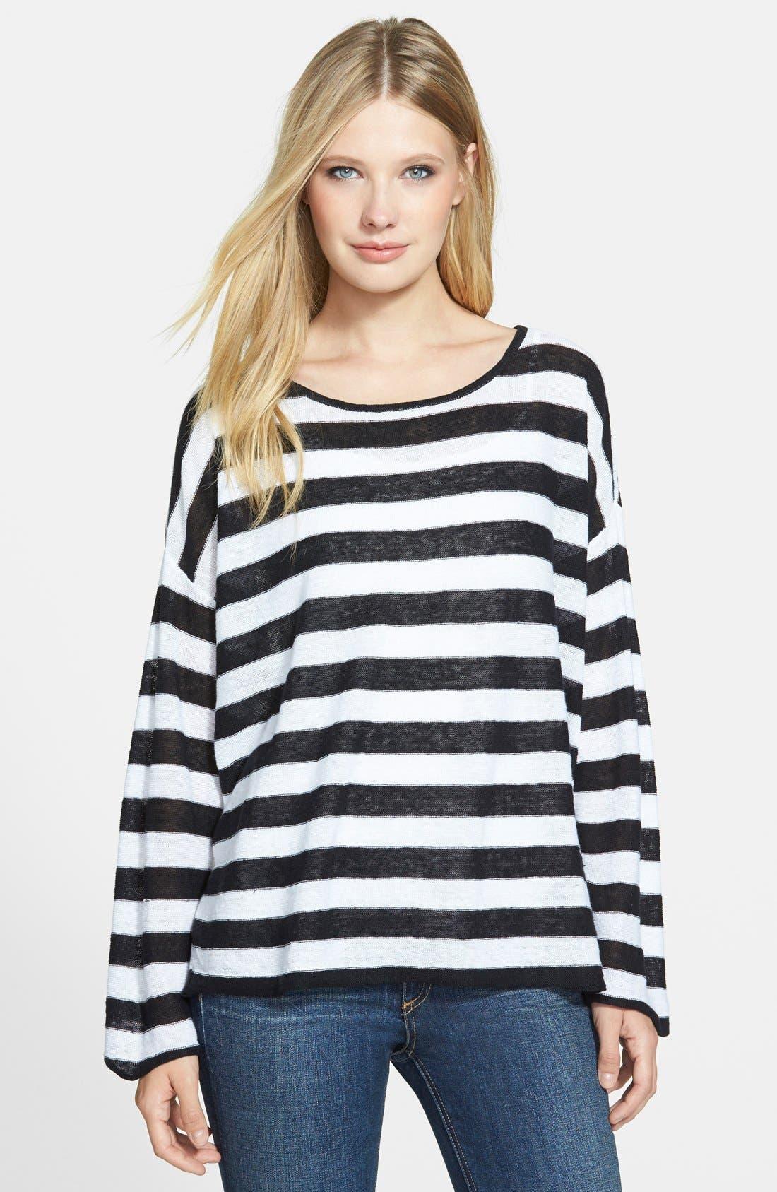 Ballet Neck Stripe Organic Linen Top,                         Main,                         color, 018