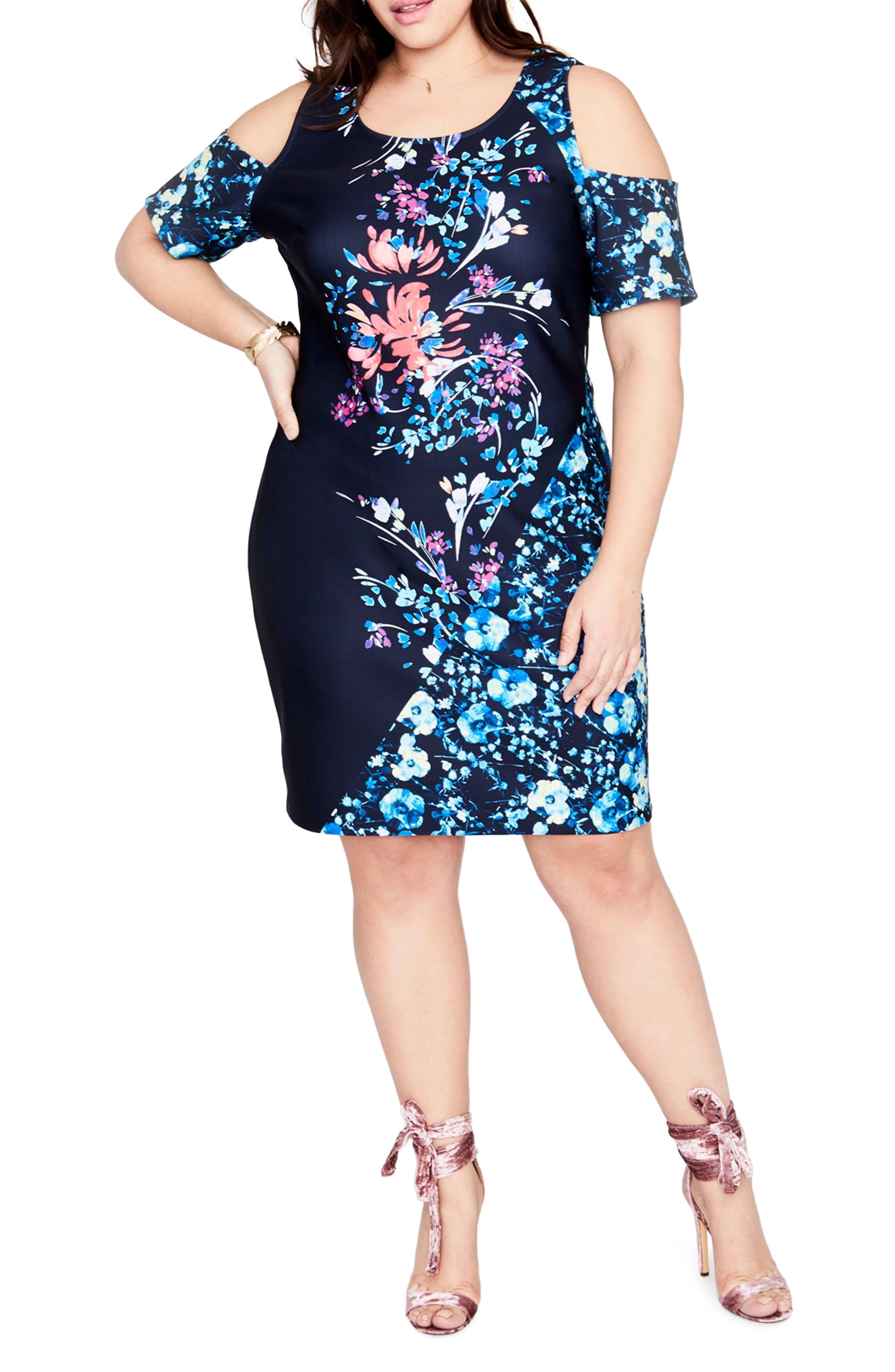 Printed Cold Shoulder Sheath Dress,                             Main thumbnail 1, color,                             432