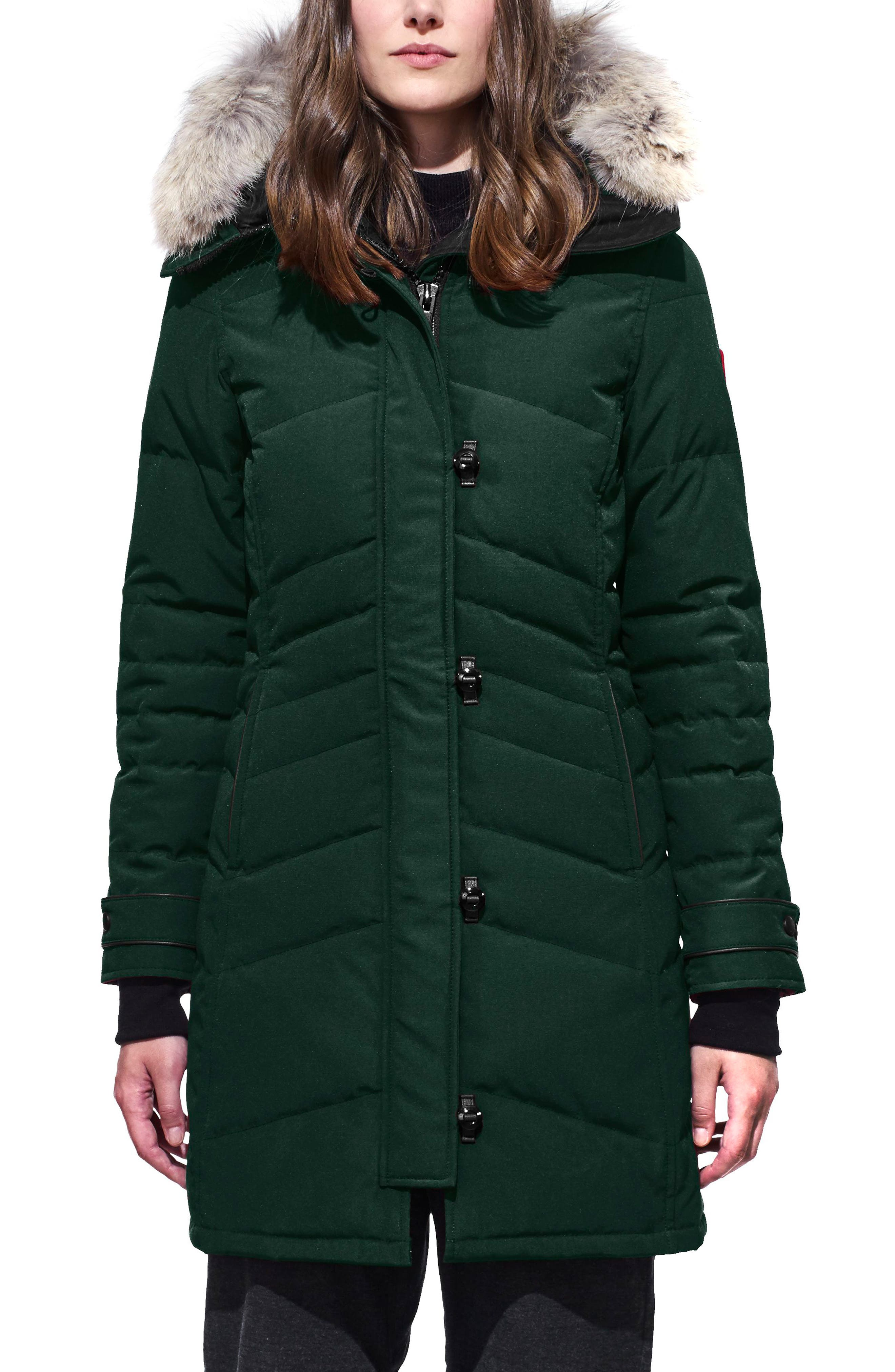 'Lorette' Hooded Down Parka with Genuine Coyote Fur Trim,                             Main thumbnail 1, color,                             NAVY