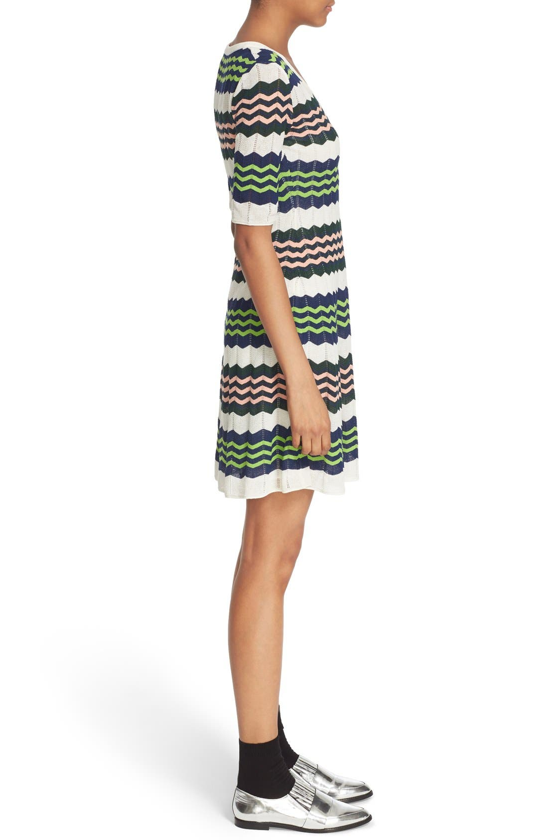 Zigzag Stripe Knit A-Line Dress,                             Alternate thumbnail 2, color,                             900