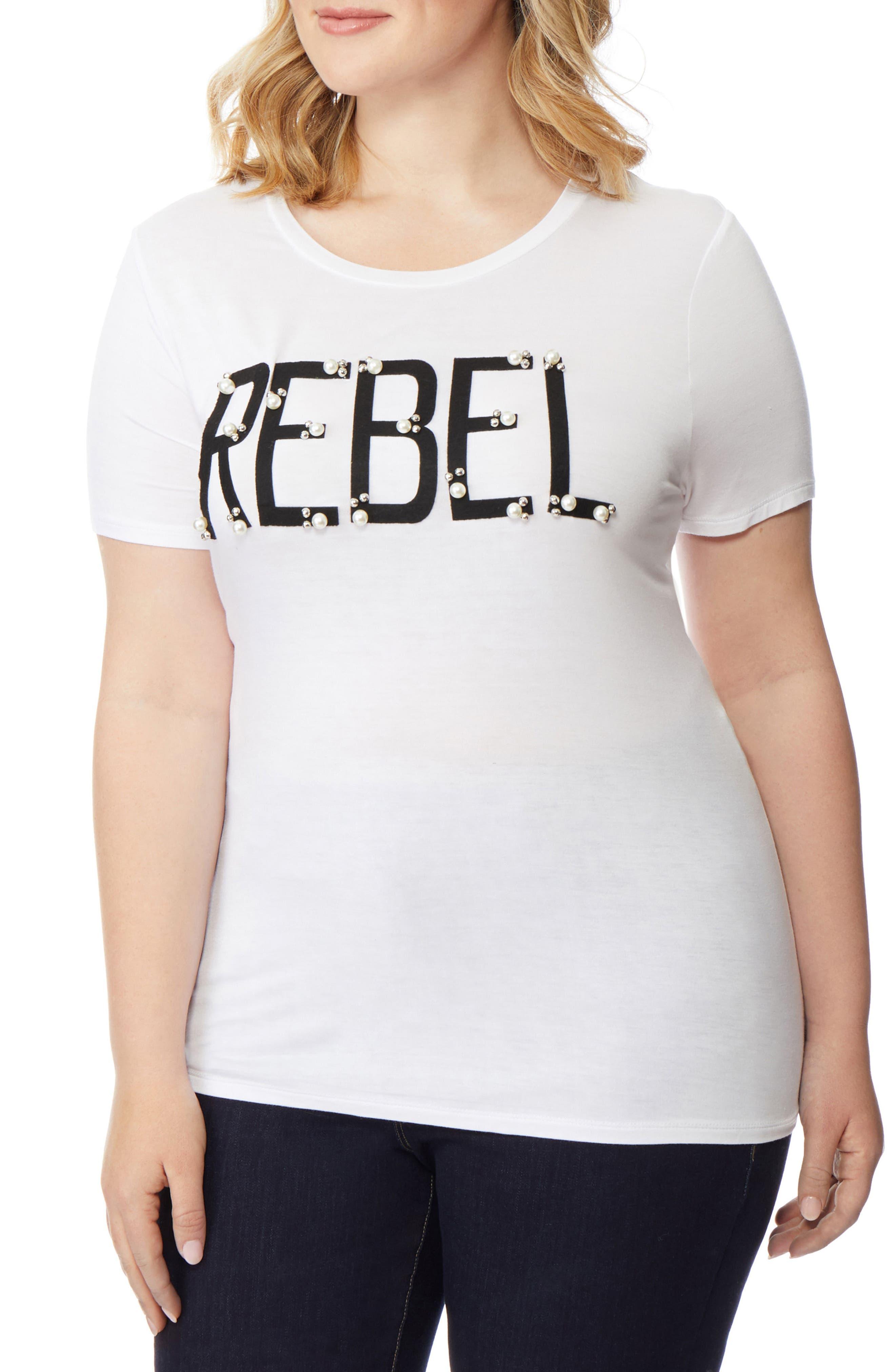 Rebel Embellished Graphic Tee,                             Alternate thumbnail 3, color,                             PEARLED REBEL