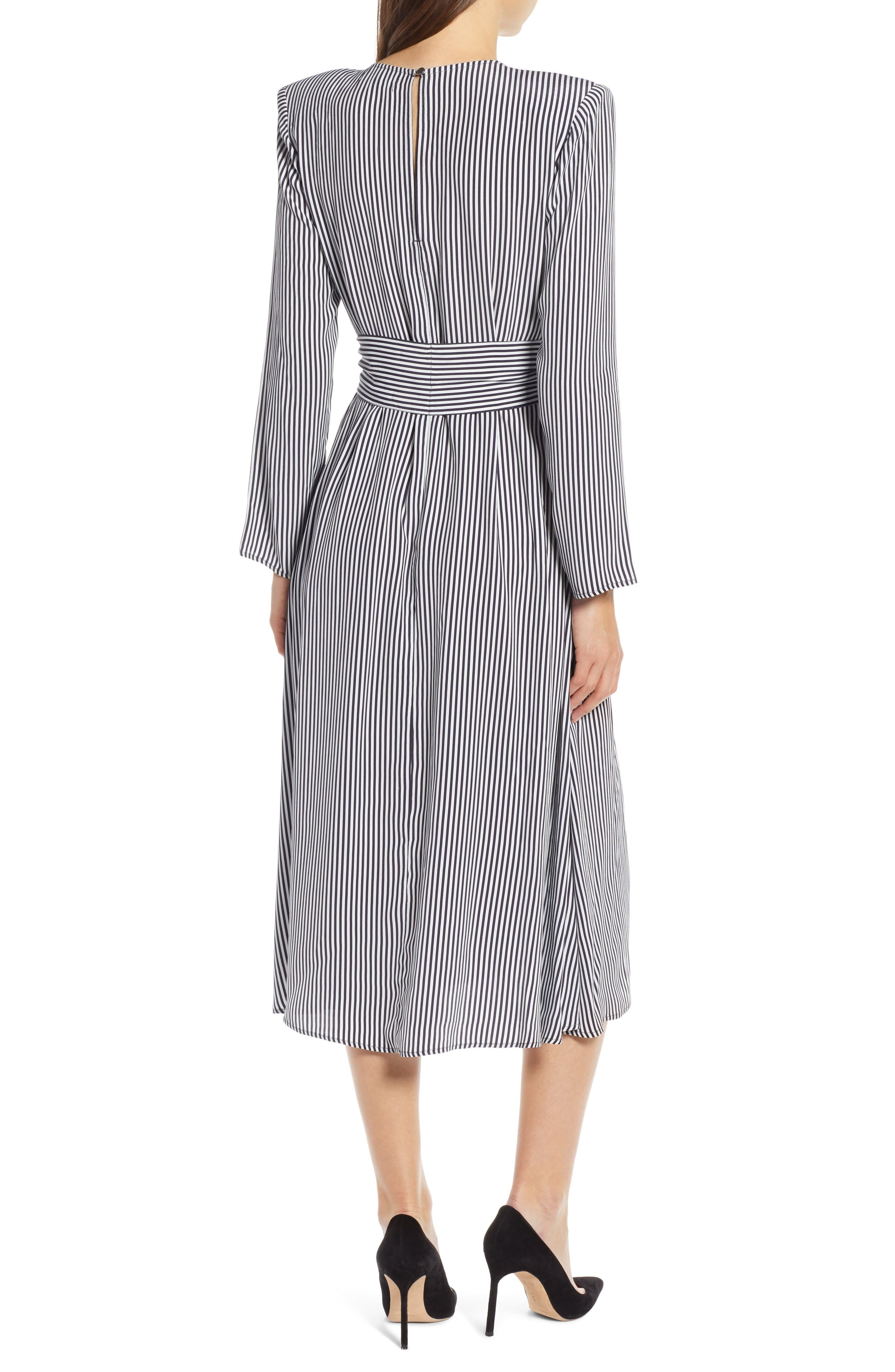 Belted Midi Dress,                             Alternate thumbnail 2, color,                             NAVY NIGHT TWO STRIPE