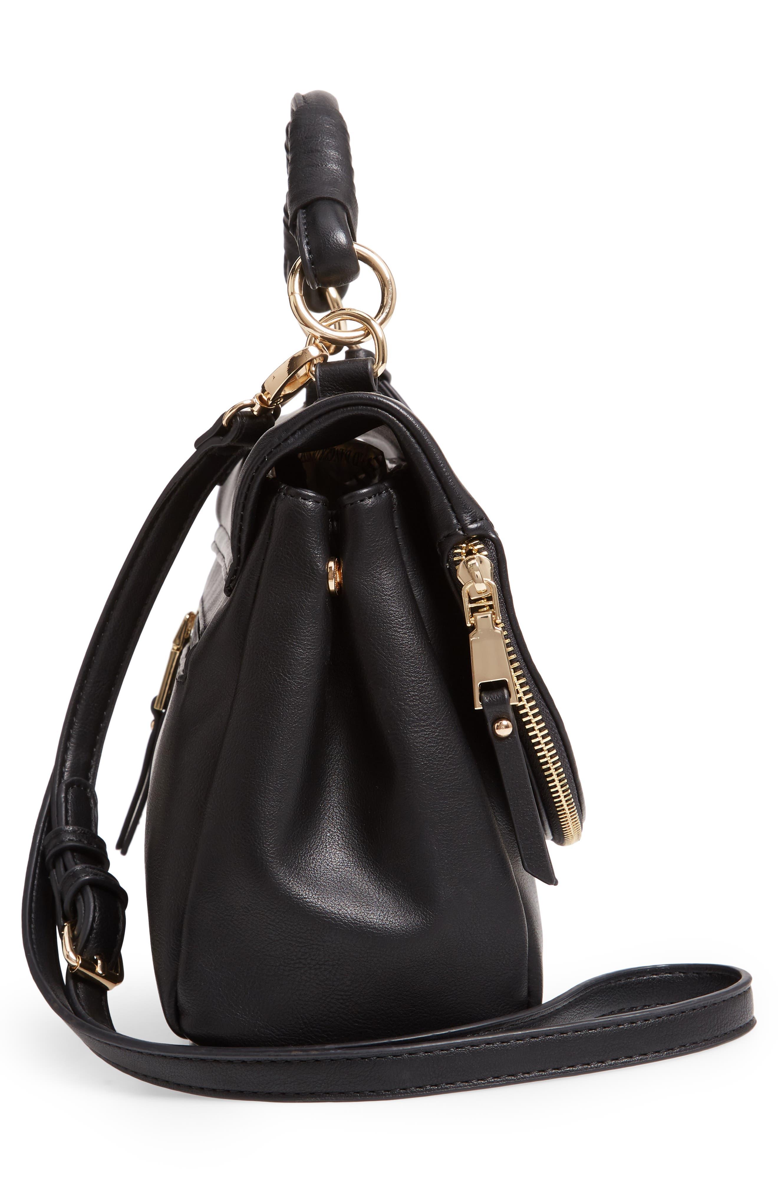 Rubie Faux Leather Crossbody Bag,                             Alternate thumbnail 5, color,                             BLACK
