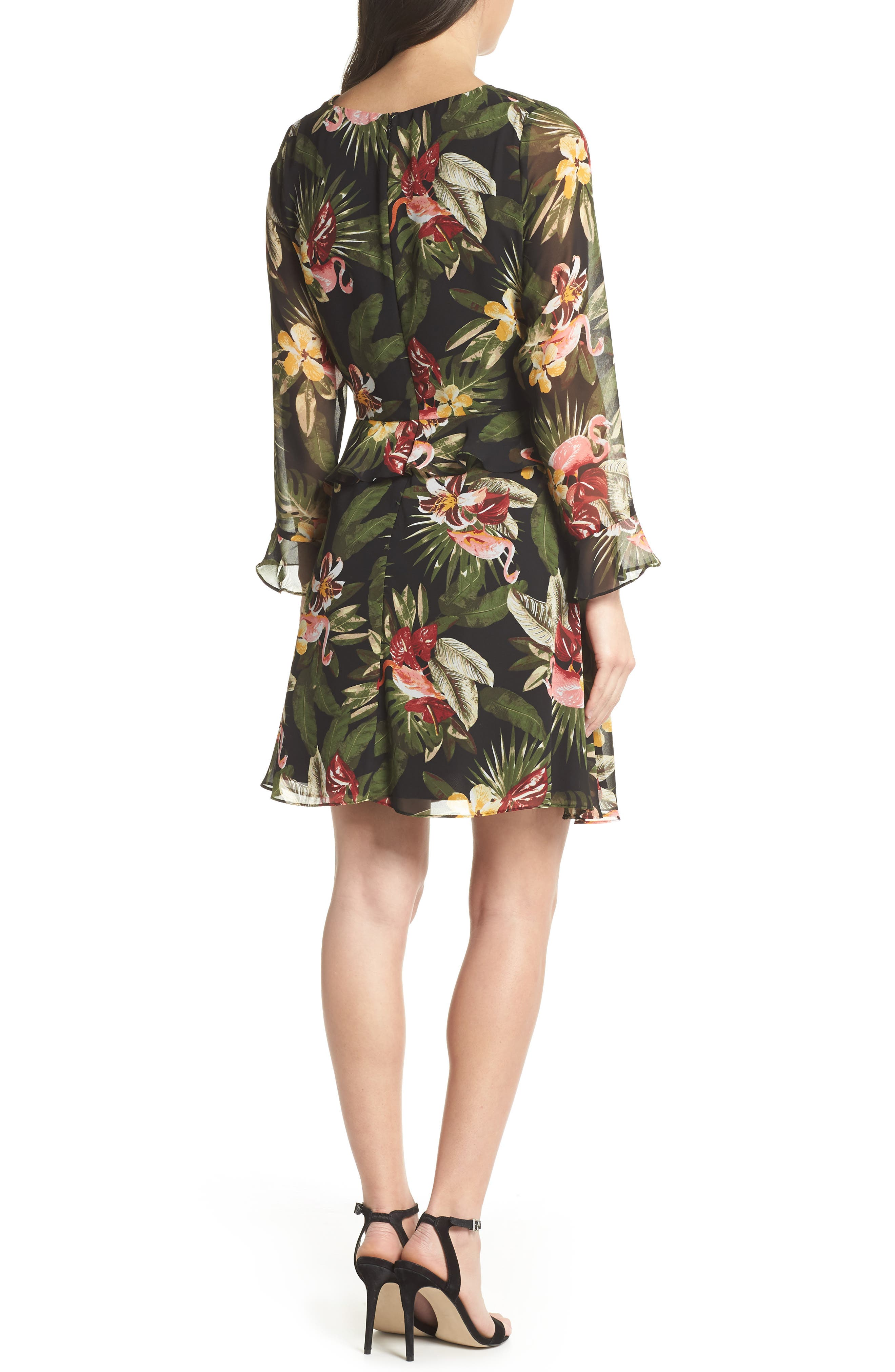 Waist Cutout Ruffle Dress,                             Alternate thumbnail 2, color,                             BLACK/ GREEN