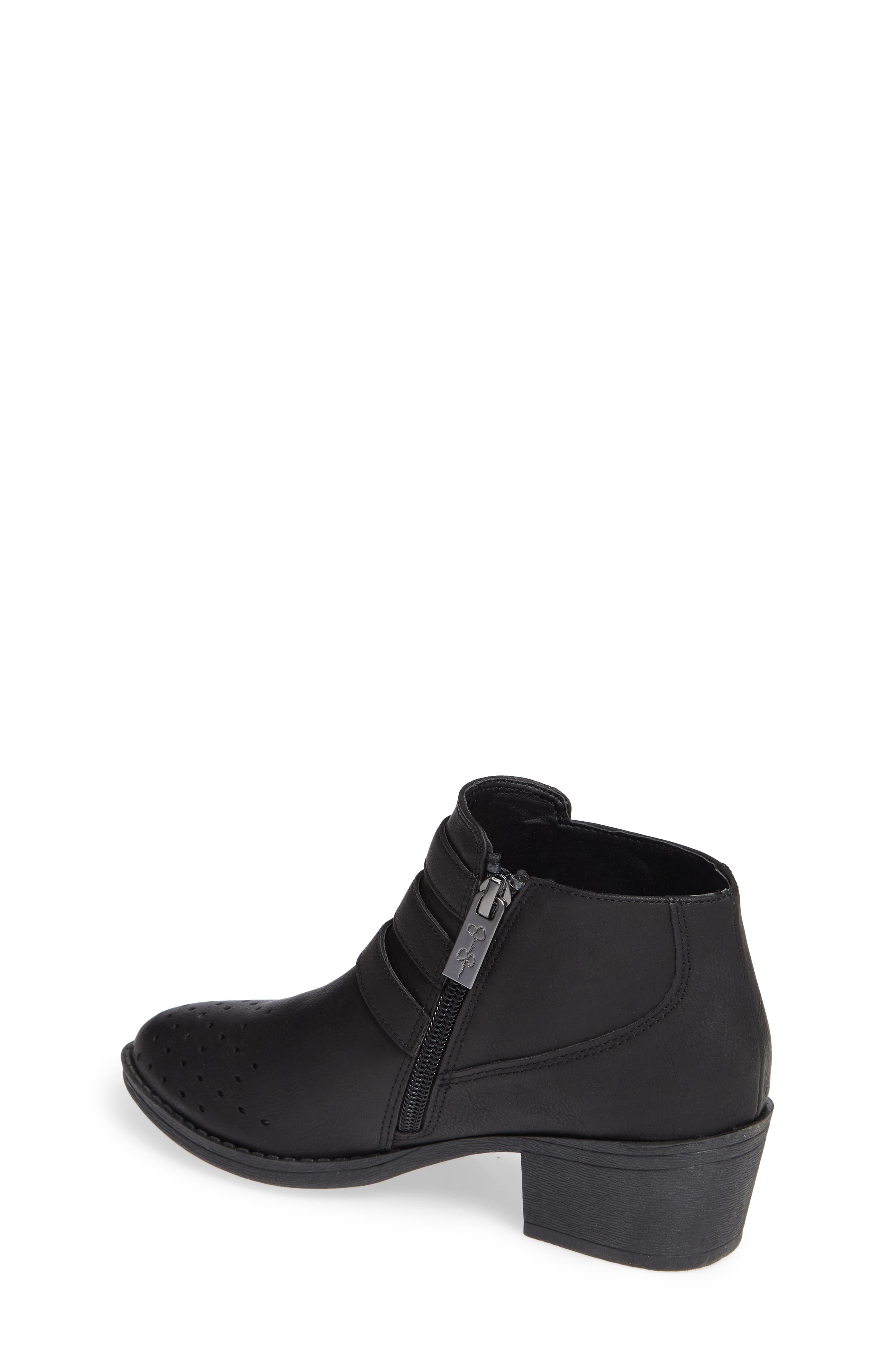 Perforated Buckle Bootie,                             Alternate thumbnail 2, color,                             BLACK HUDSON