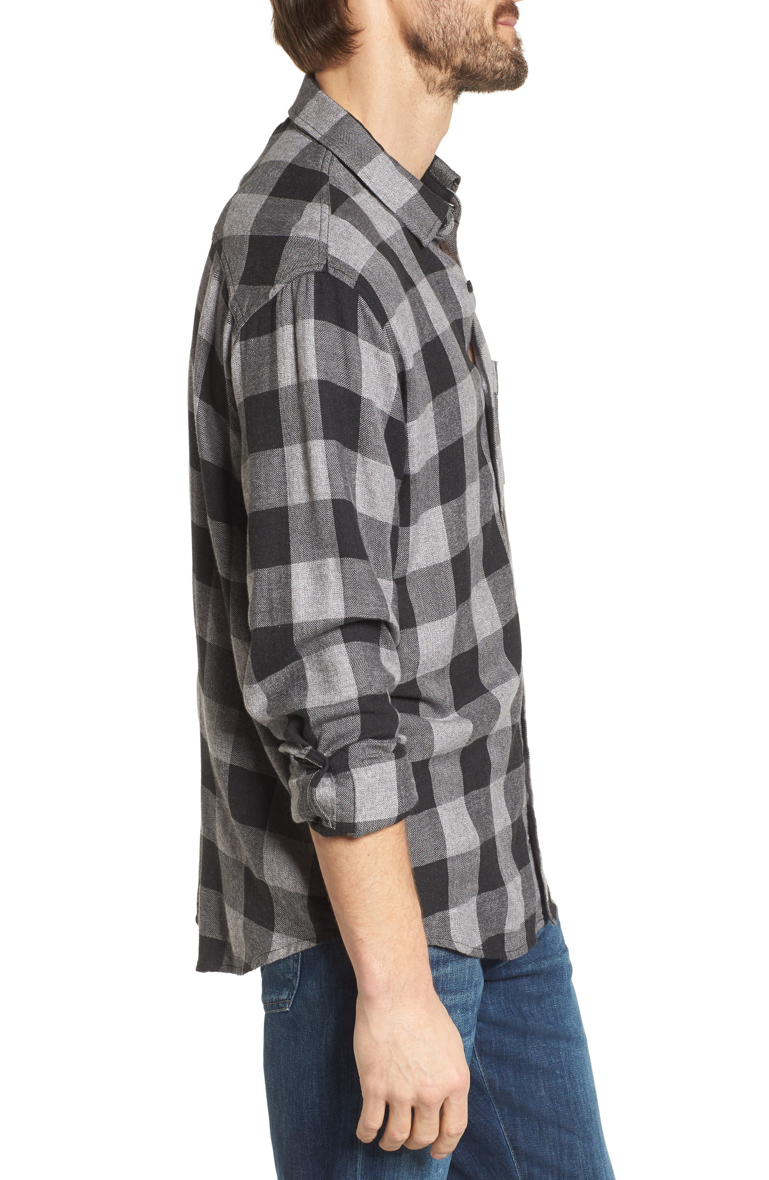 Lennox Sport Shirt,                             Alternate thumbnail 3, color,                             CHARCOAL/ BLACK CHECK