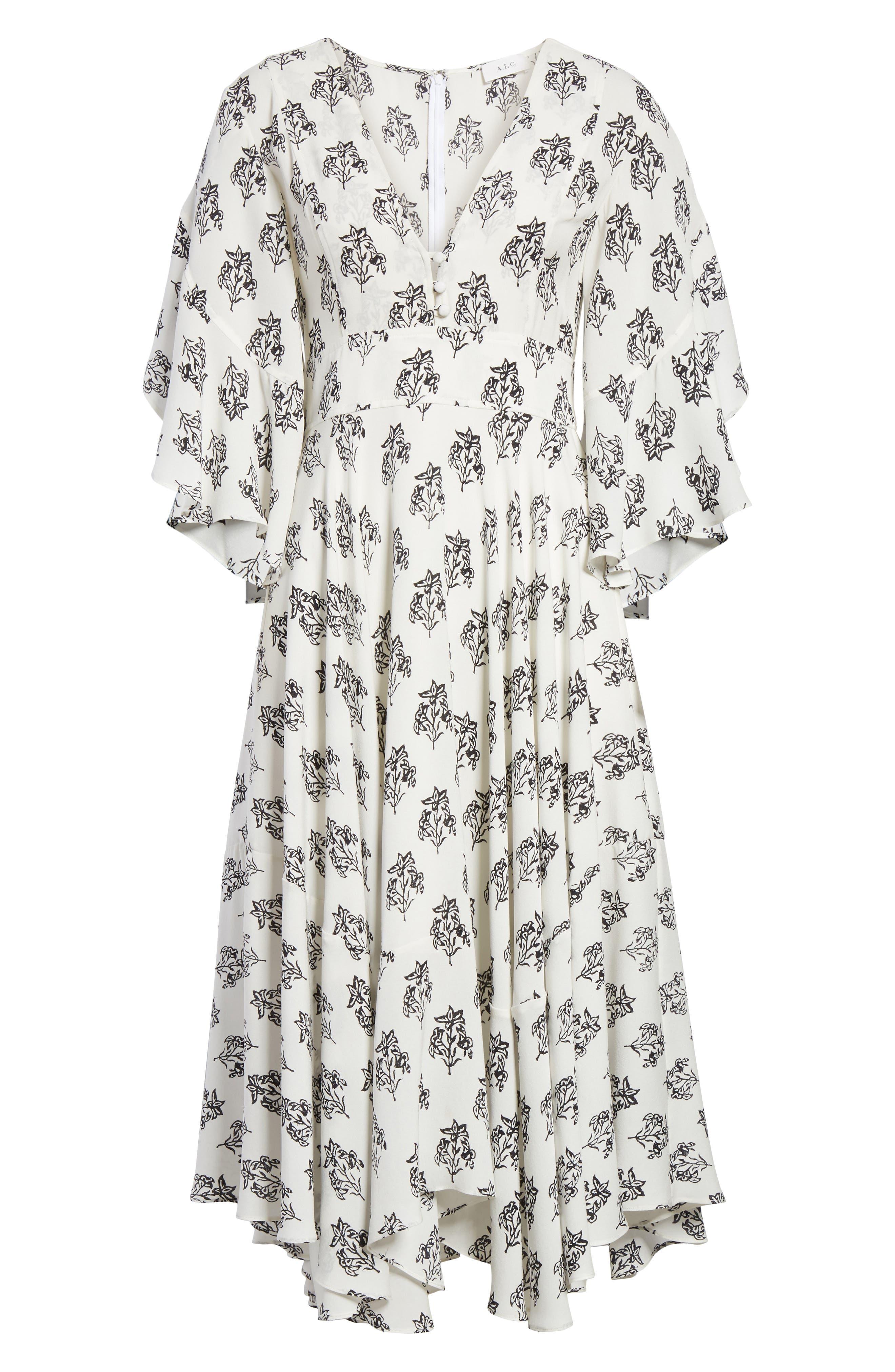 McKenna Print Asymmetrical Silk Dress,                             Alternate thumbnail 6, color,                             110