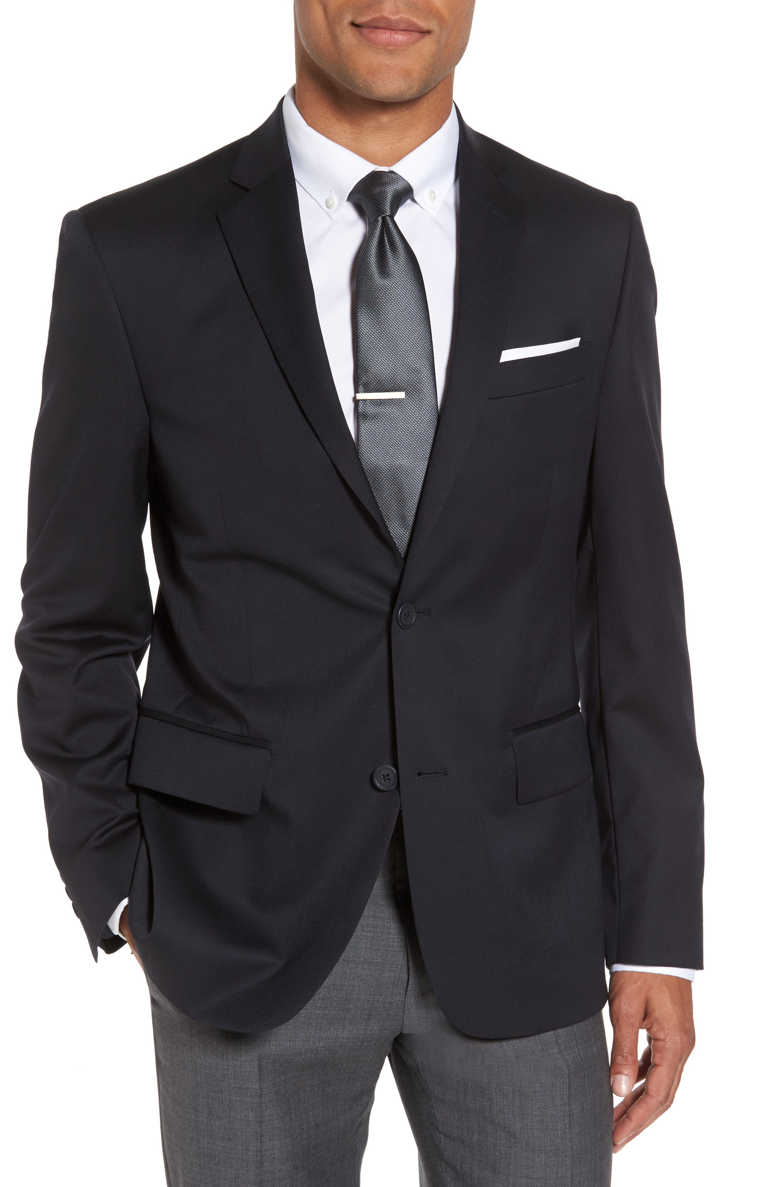 Classic Fit Solid Wool Sport Coat,                         Main,                         color, NAVY