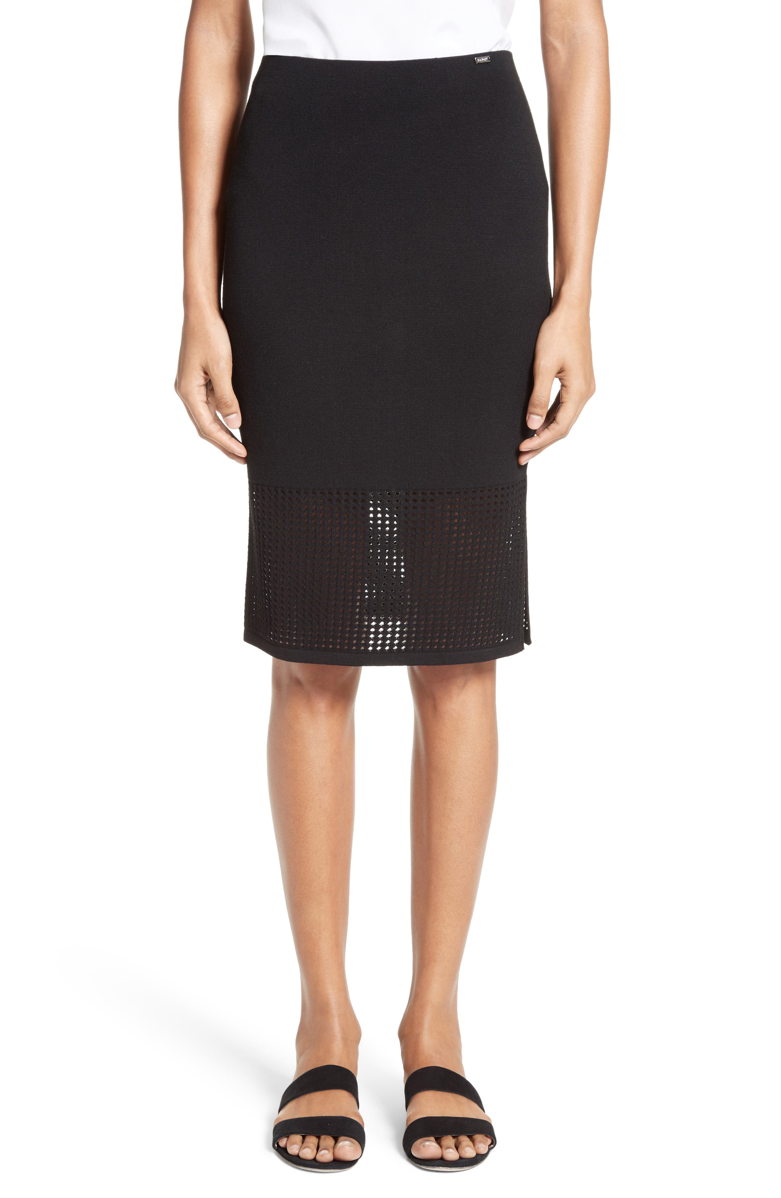 Technical Mesh Knit Pencil Skirt,                         Main,                         color, 001