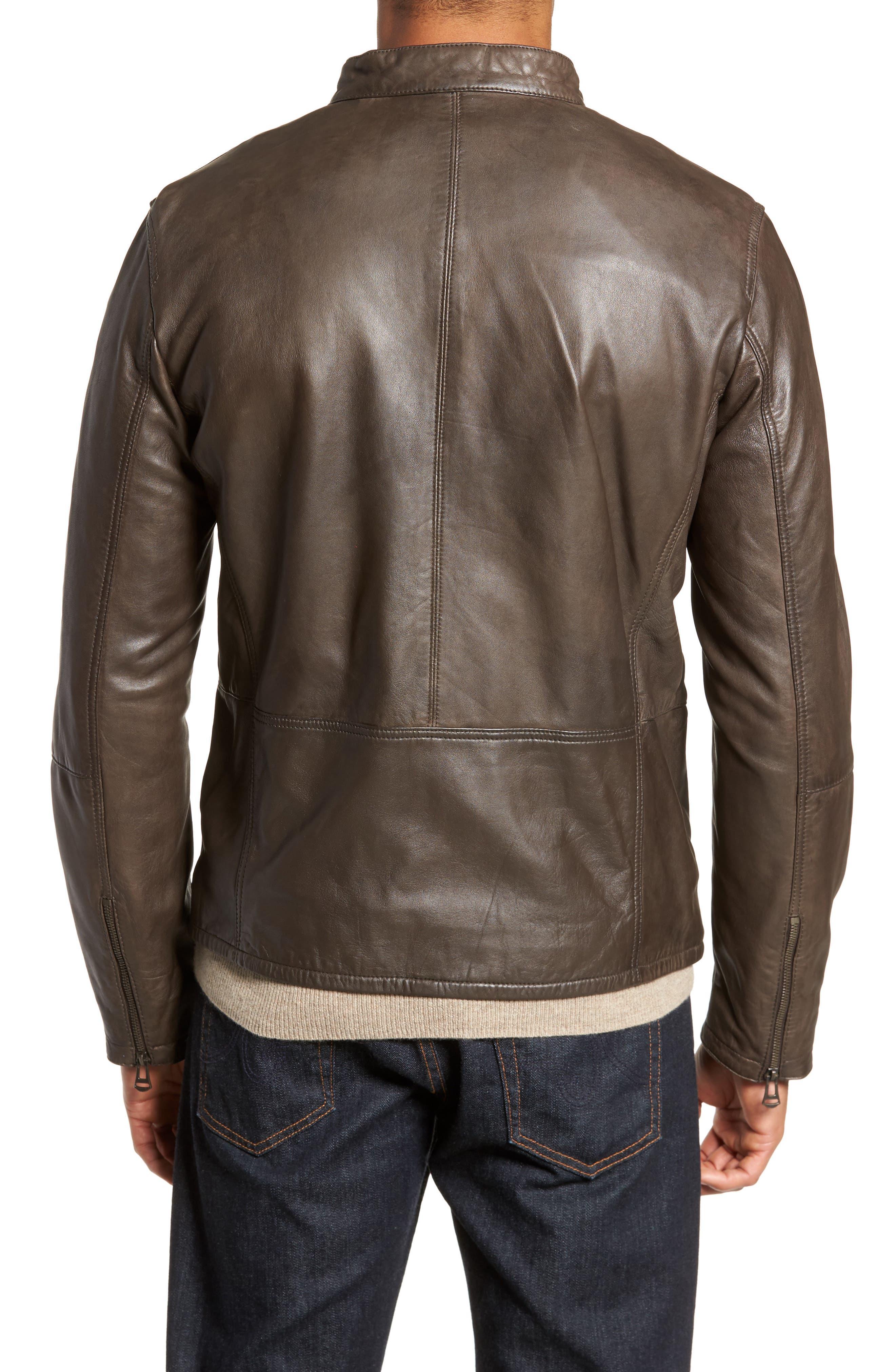 Washed Lamb Leather Moto Jacket,                             Alternate thumbnail 4, color,