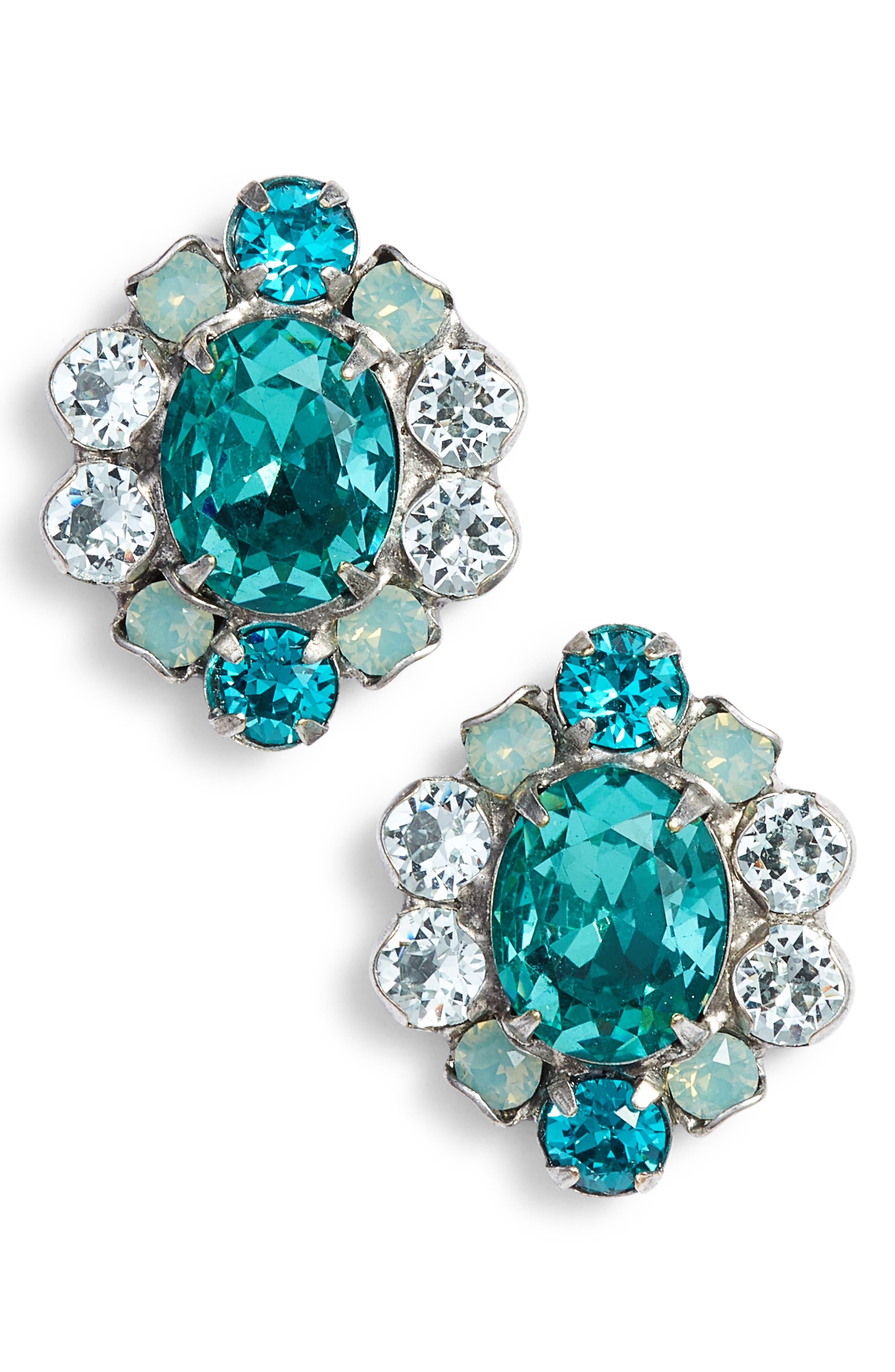 Sundrop Crystal Earrings,                             Main thumbnail 1, color,                             BLUE-GREEN