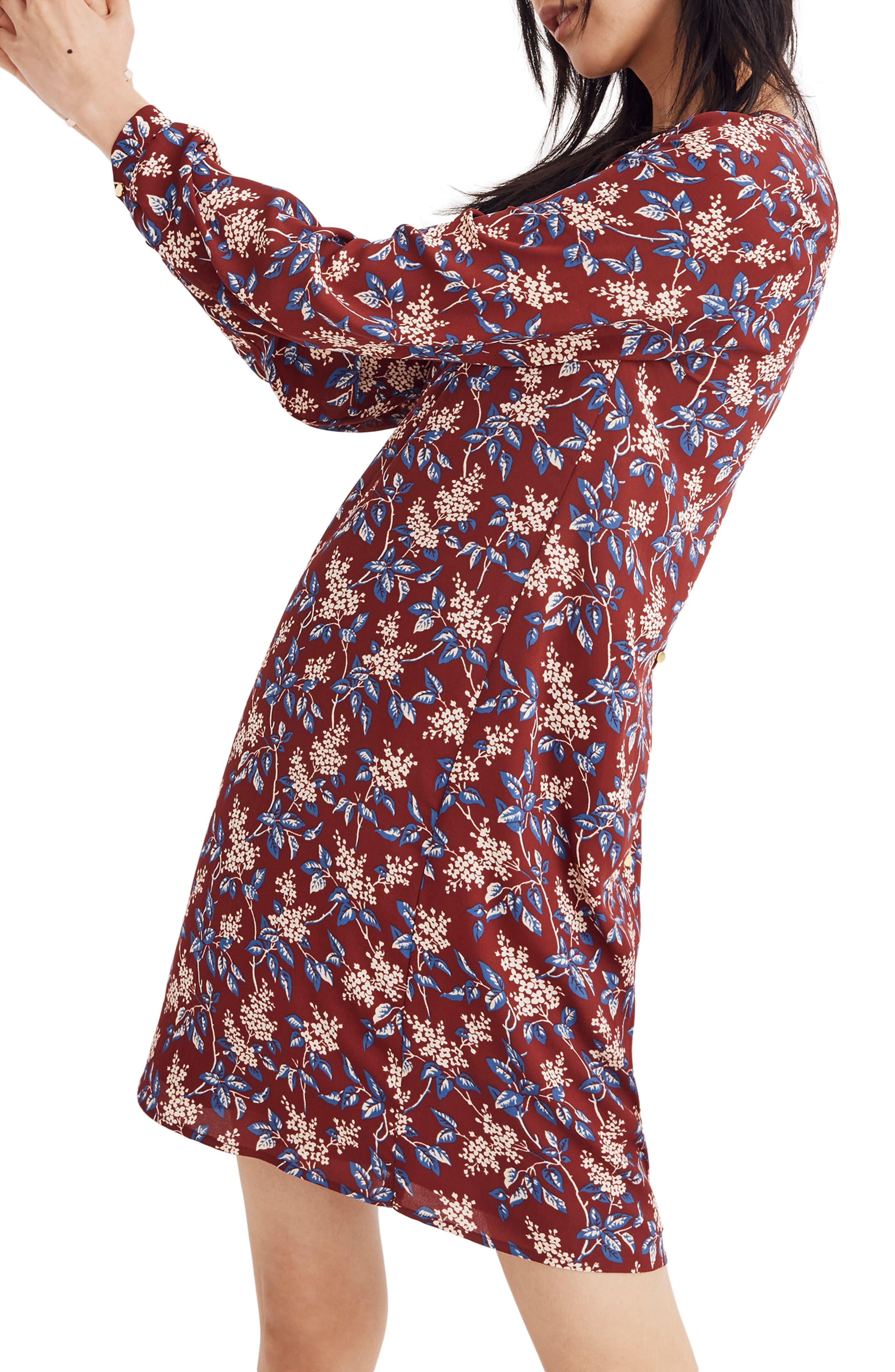 Antique Flora Button Back Dress,                             Alternate thumbnail 3, color,                             DUSTY BURGUNDY