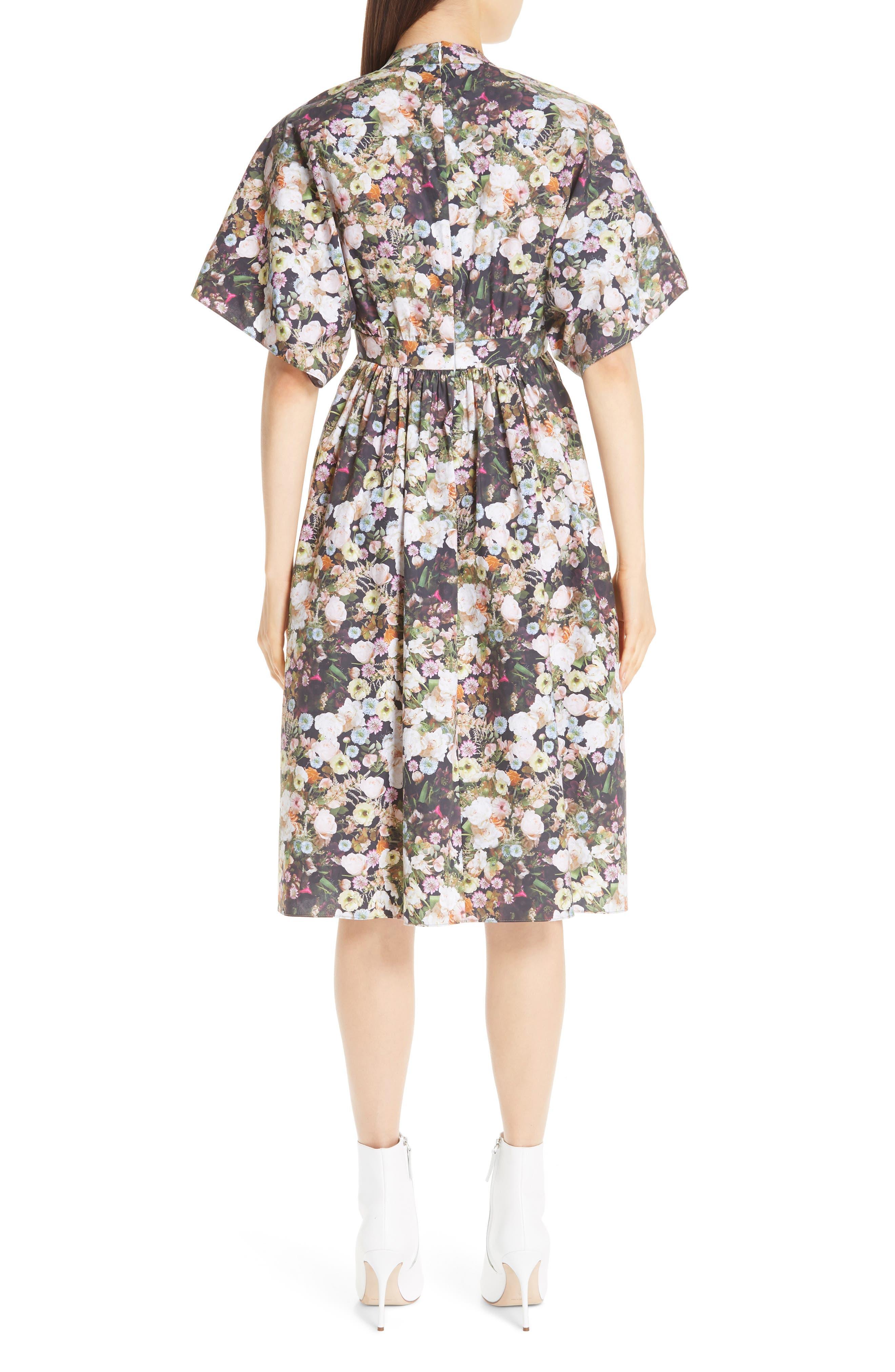 Floral Print Poplin Dress,                             Alternate thumbnail 2, color,                             BLACK FLORAL