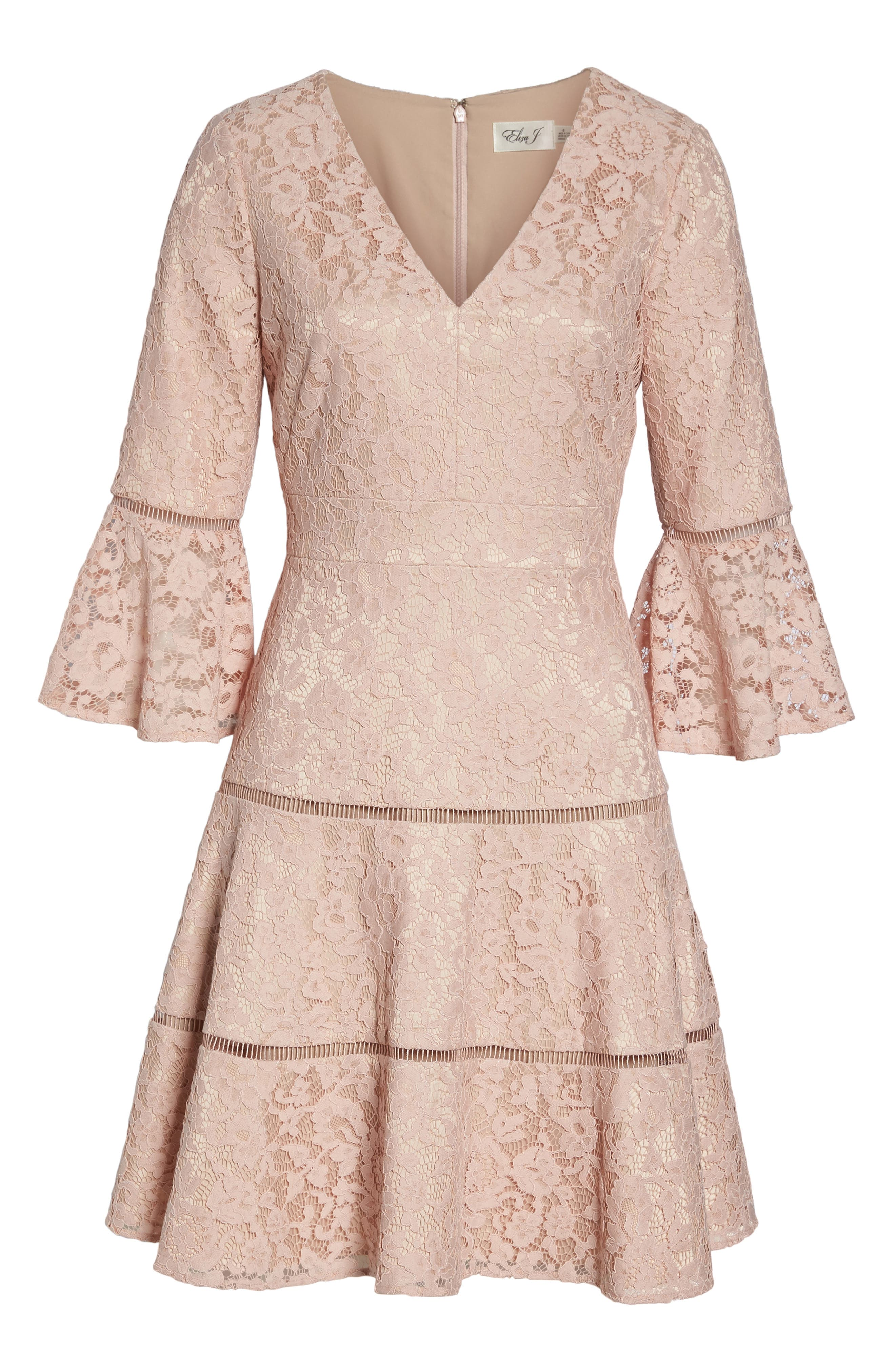 Bell Sleeve Lace Fit & Flare Dress,                             Alternate thumbnail 12, color,