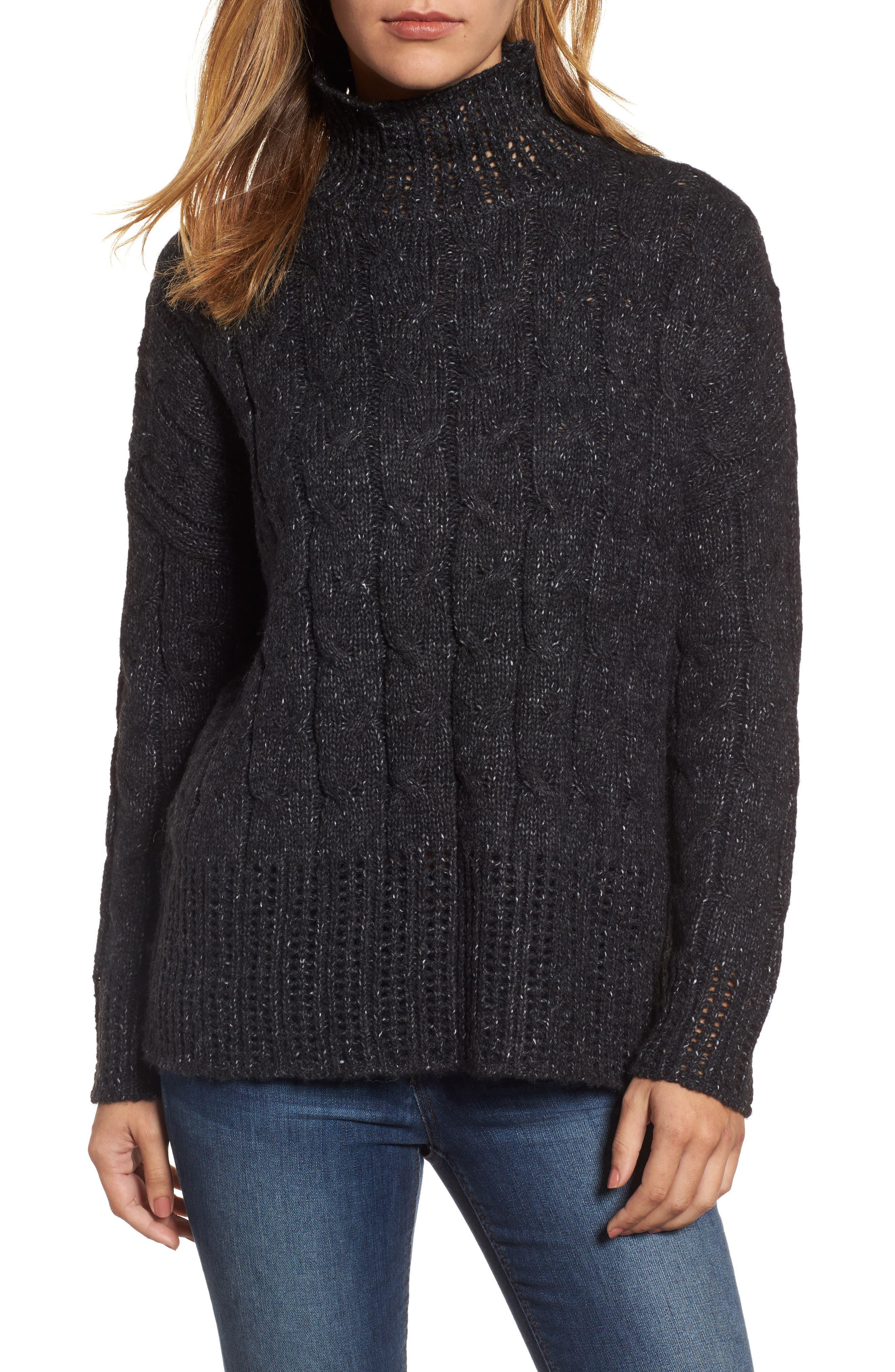 Pointelle Turtleneck Sweater,                             Main thumbnail 1, color,                             001