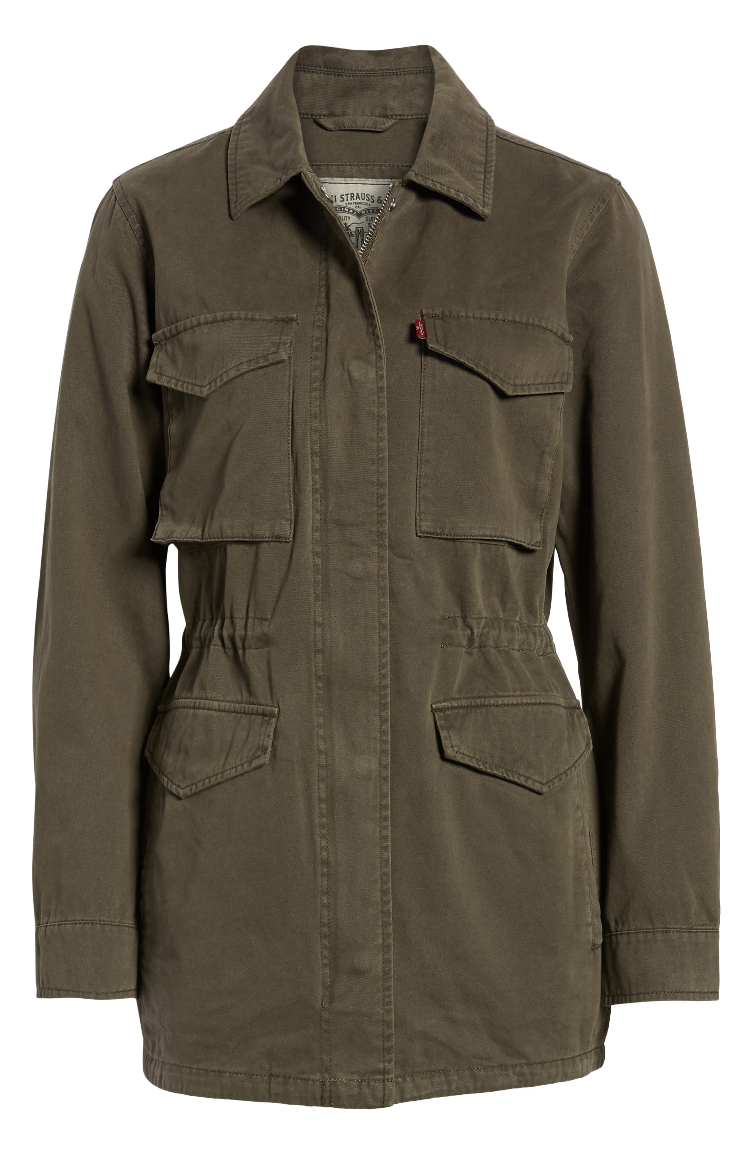 Cotton Oversize Military Jacket,                             Alternate thumbnail 5, color,                             OLIVE