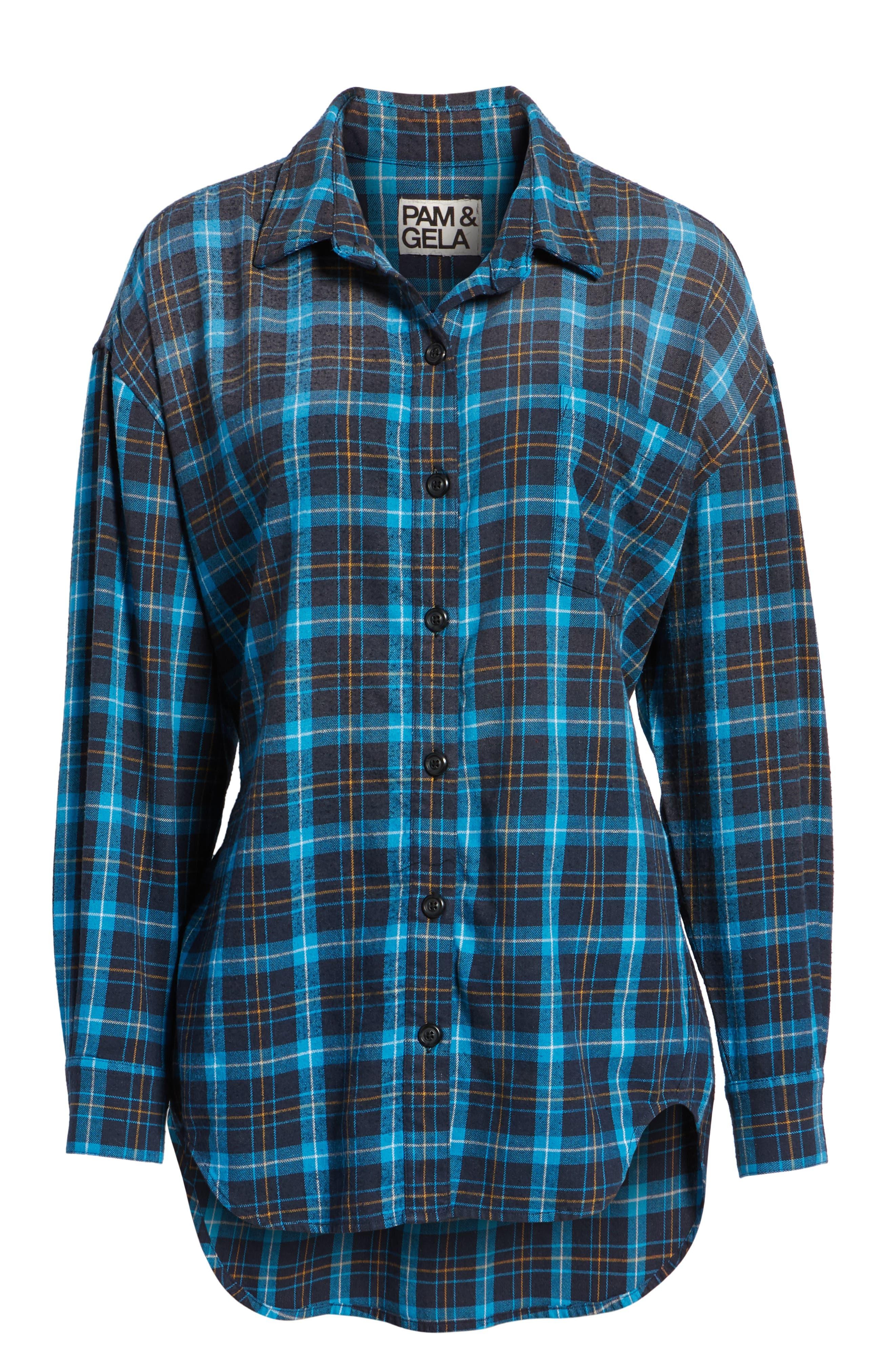 Back Tie Plaid Shirt,                             Alternate thumbnail 6, color,                             498