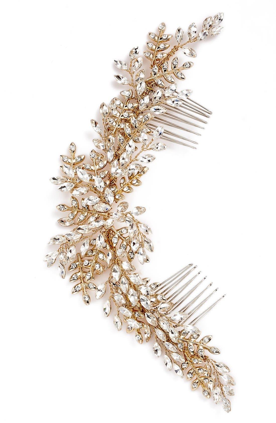 Serena Crystal Hair Comb,                             Main thumbnail 1, color,                             GOLD